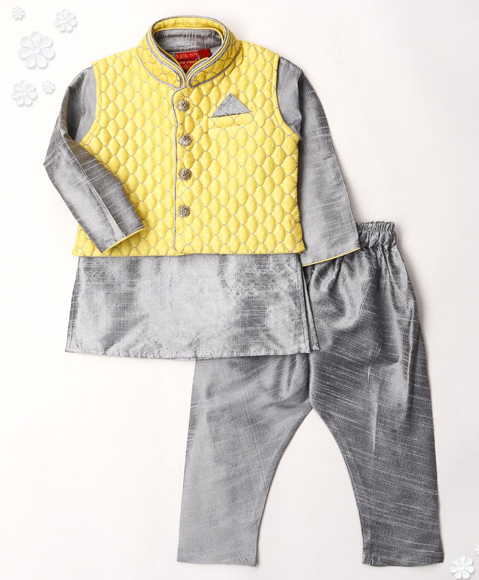 3d275a760 Buy Ethniks Neu Ron Kurta Jacket And Pajama Set Yellow   Grey for ...