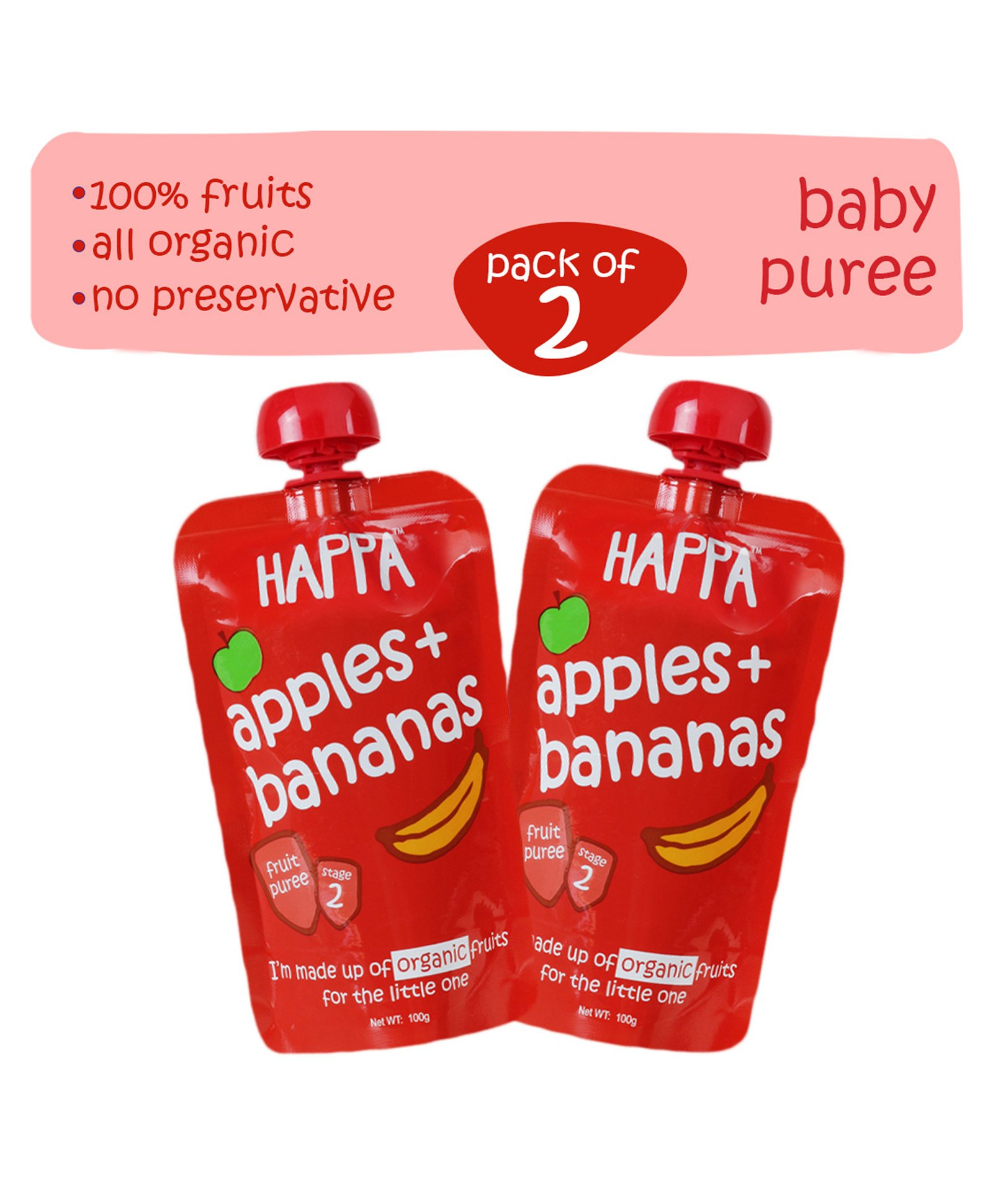 4fc767e8946e3 Happa Organic Apple & Banana Fruit Puree Baby food Pack of 2 100 gm each  Online in India, Buy at Best Price from Firstcry.com - 1615698