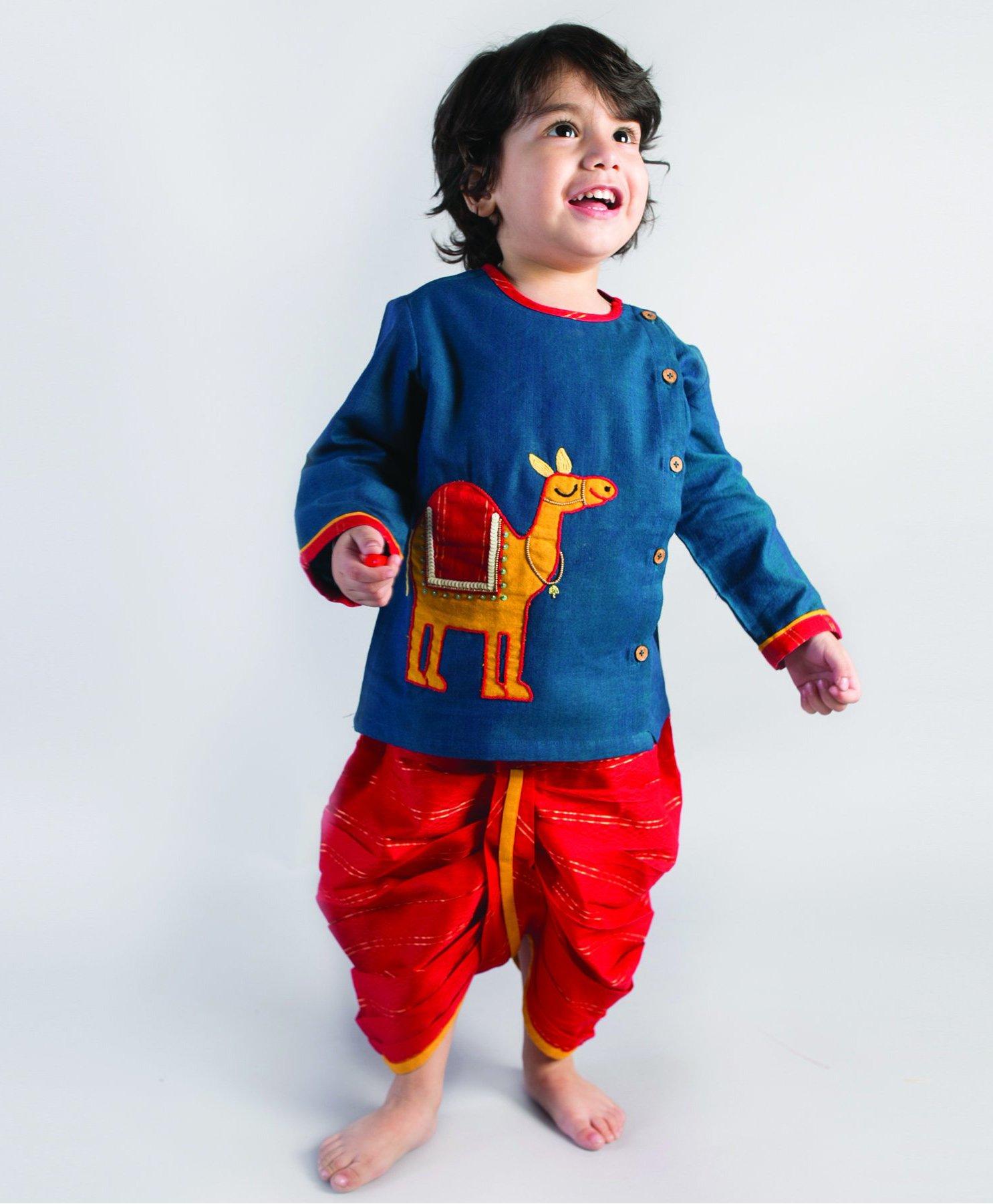 ce842631ffc Buy Tiber Taber Camel Design Dhoti Kurta Set Blue   Red for Boys (2 ...