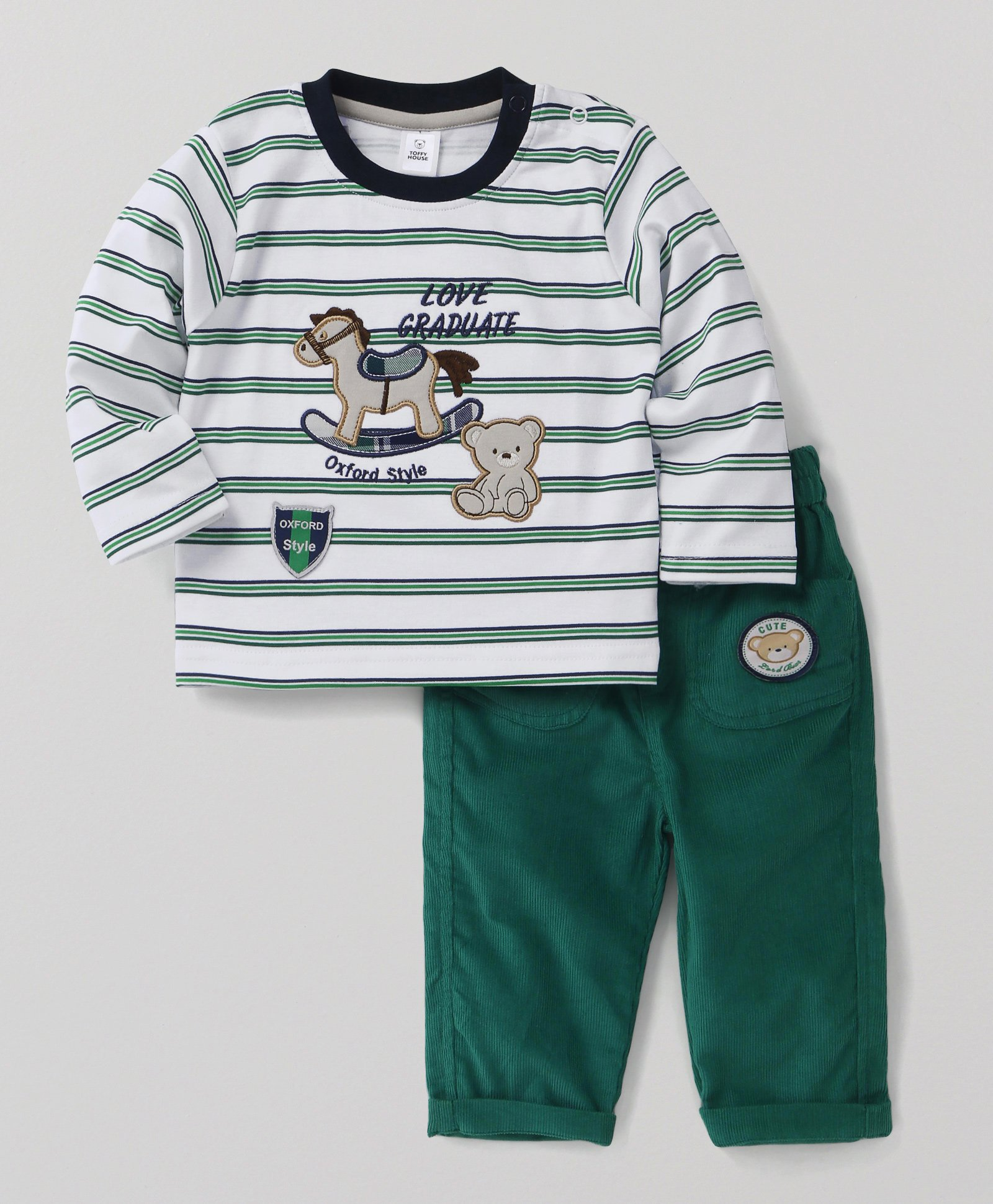 a7af51d2 ToffyHouse Full Sleeves T-Shirt And Jeans Set Rocking Horse Patch - Green