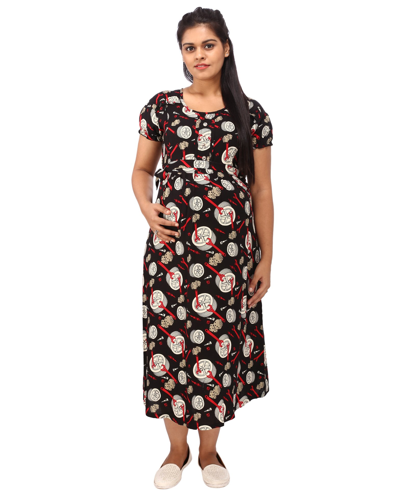 46d63c1386a8c Mammas Maternity Short Sleeves Dress Printed Black Online in India ...