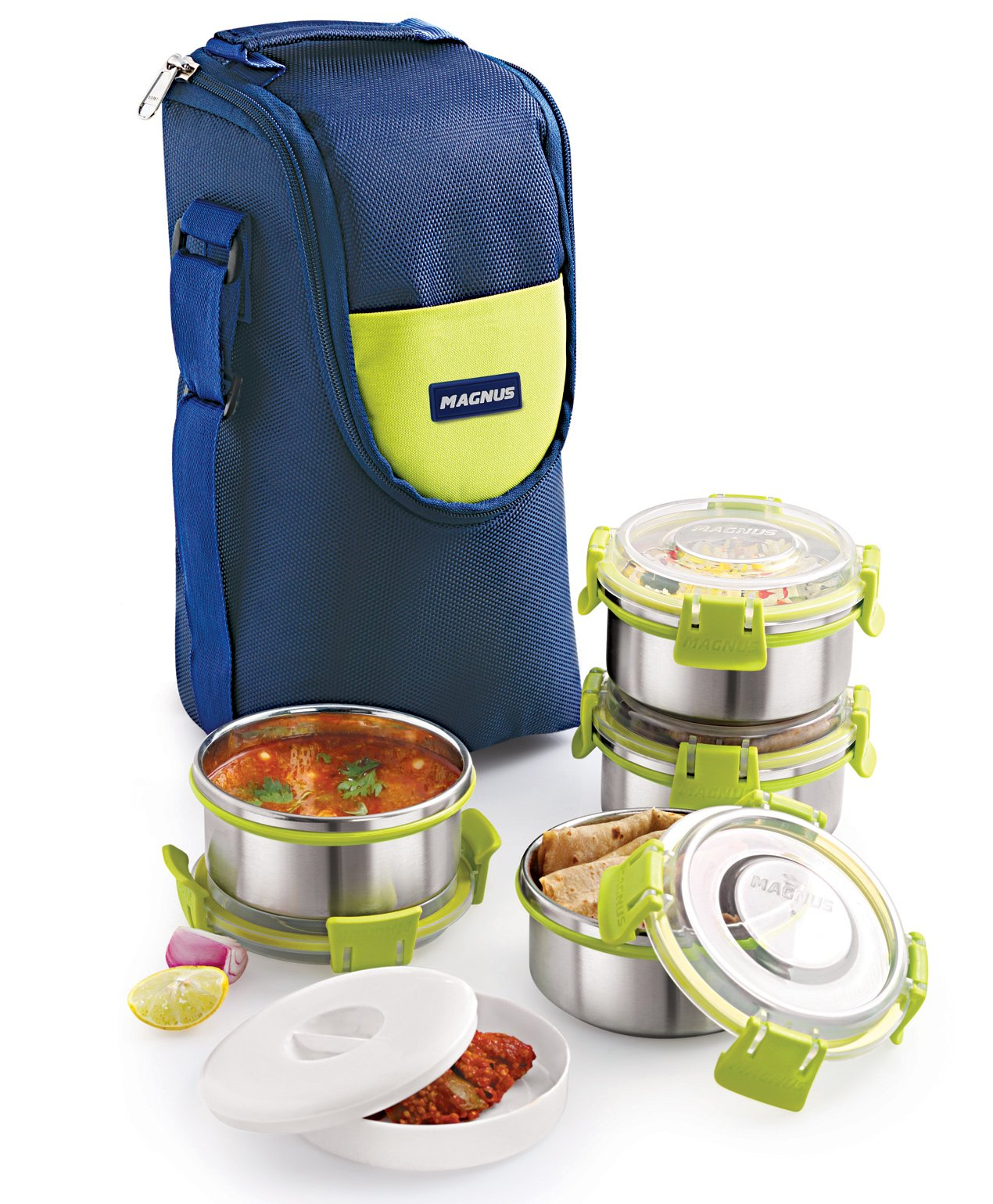 aed0a4d30f5 Magnus Stainless Steel Lunch Box With Bag Blue   Green Online in ...