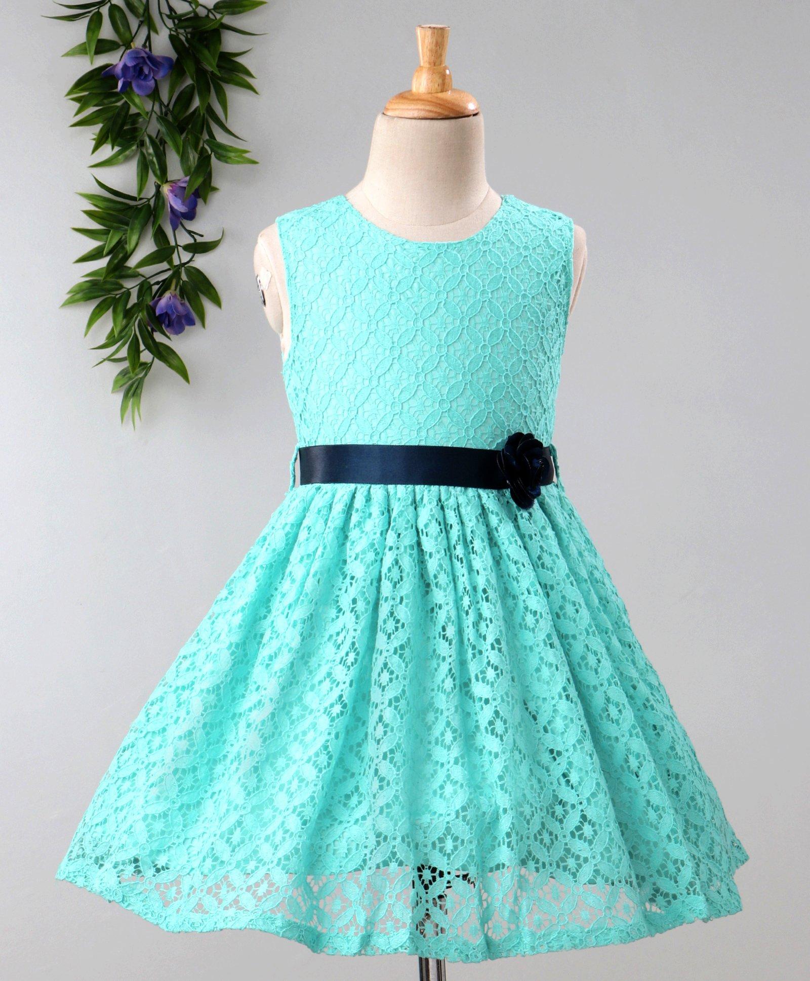 0b41835bbda Babyhug Sleeveless Pleated Net Party Wear Frock With Flower Motif - Sky Blue