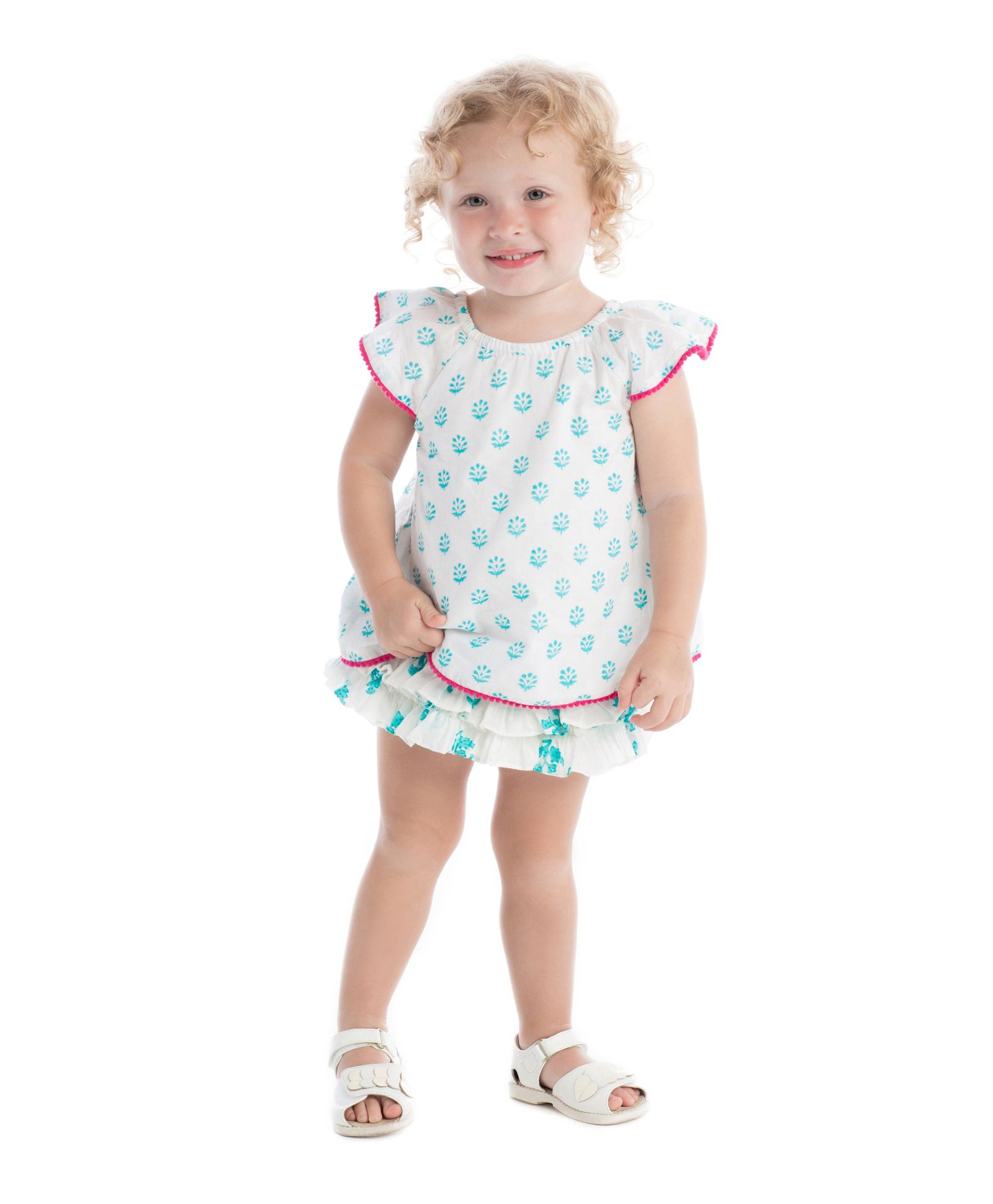 88b23dd6c2 Masala Baby Flutter Sleeves Top And Ruffle Bloomer Jardin Butti Print -  Turquoise