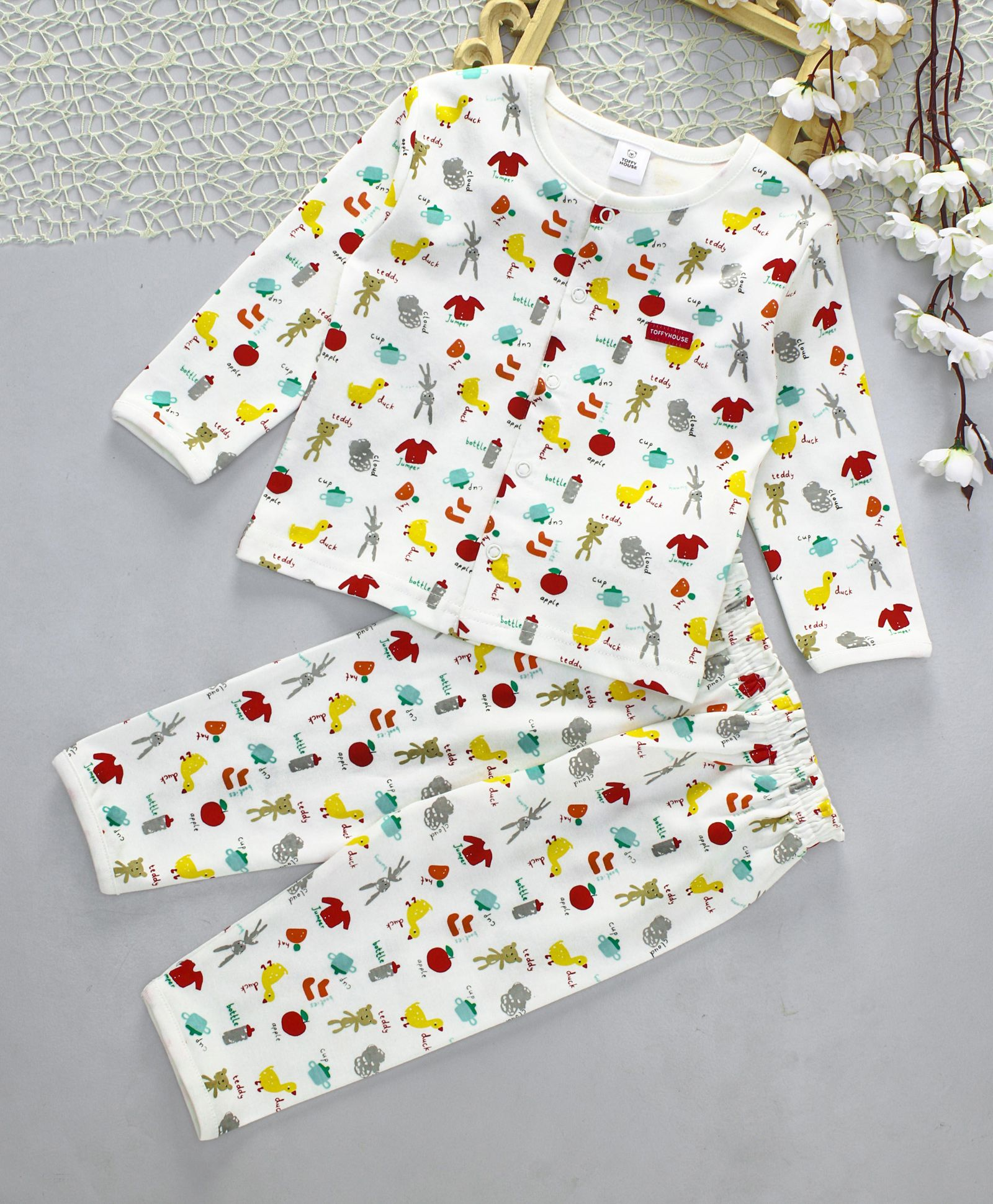 ead450df75606 Buy ToffyHouse Full Sleeves Night Suit All Over Print White for Girls (3-6  Months) Online in India, Shop at FirstCry.com - 1868498