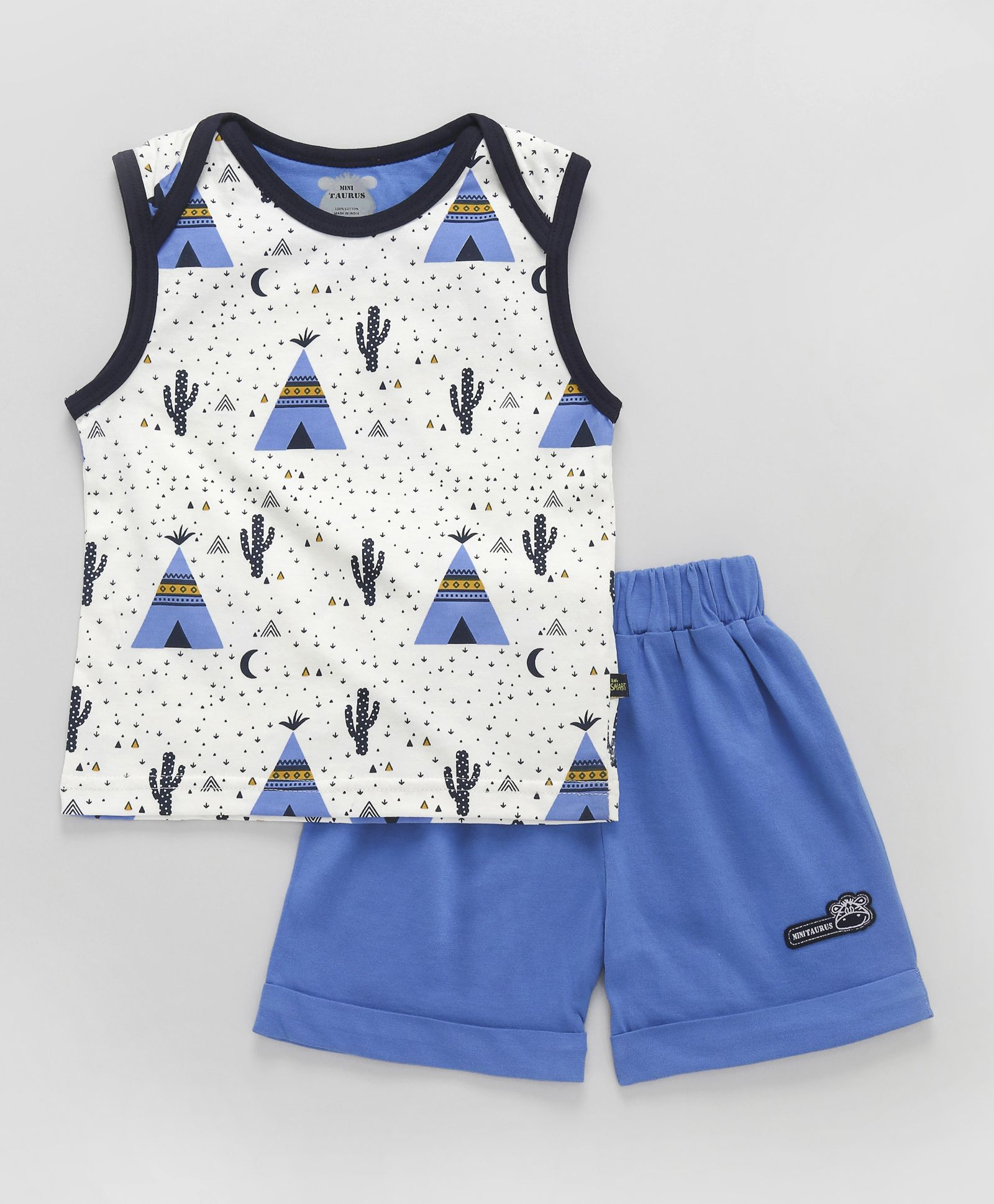 dea62bb5 Buy Mini Taurus Sleeveless TShirt With Shorts Cactus Print Blue for ...