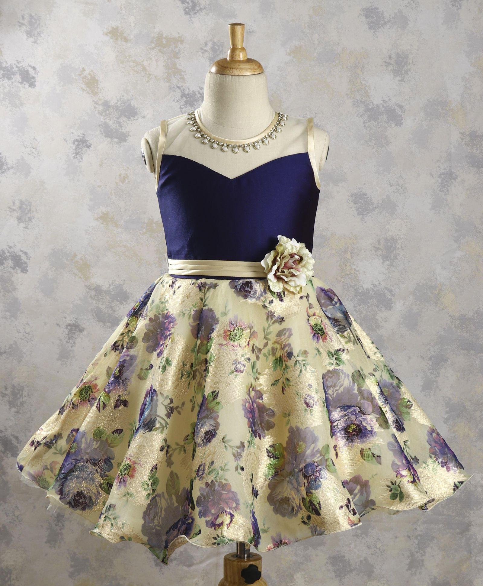 8449e00e816 Buy Bluebell Floral Party Dress With Attached Neckpiece Navy Cream ...