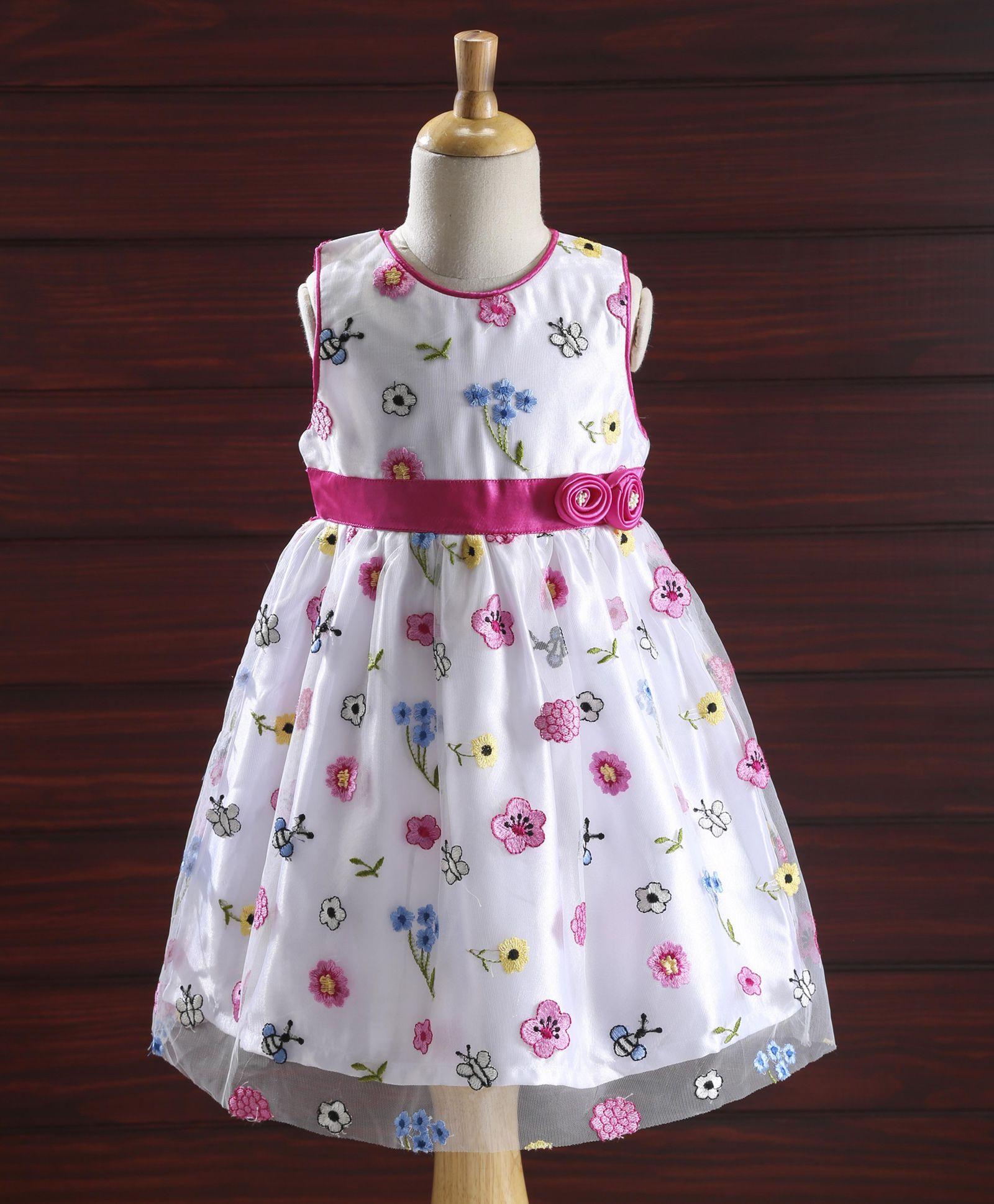 acf0e7830 Buy Yellow Duck Sleeveless Party Dress Floral Embroidery Pink for ...
