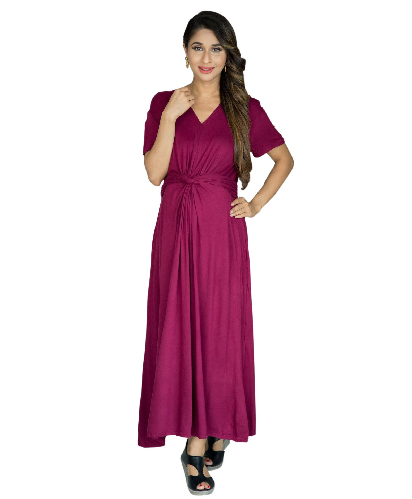 bc75bec62f MOMZJOY Berry Front Knot Lycra Maternity Dress Maroon Online in ...