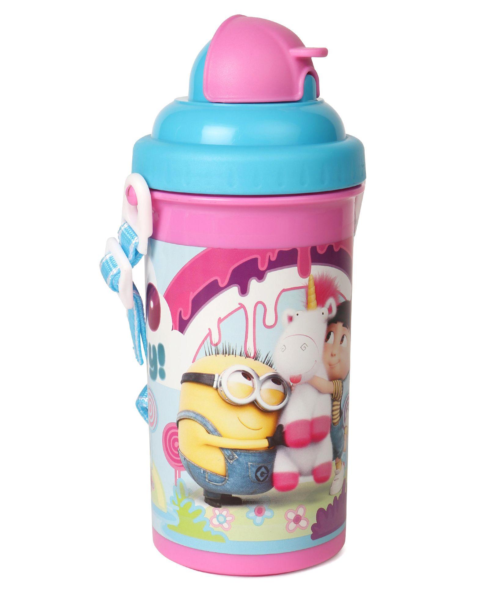 1fc2c34b3f Minions Unicorn & Agnes Water Bottle With Pop Up Straw Pink Blue - 500 ml