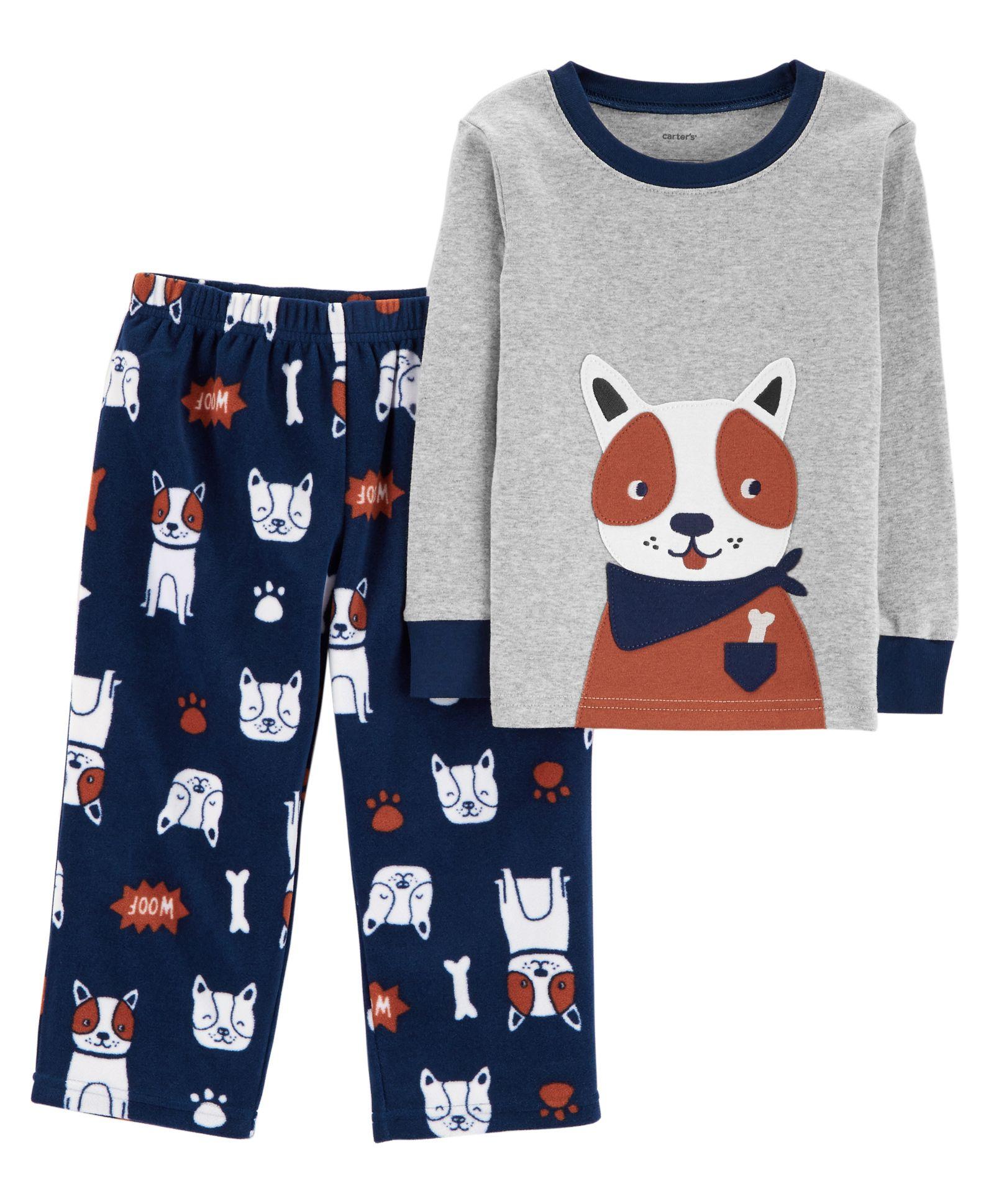 0dc56e80bed8 Carter s 2-Piece Dog Snug Fit Cotton   Fleece PJs - Grey Blue