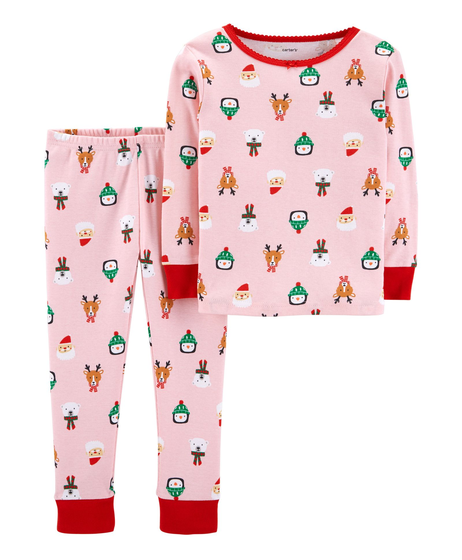 6ed27aa28be0 Buy Carters 2 Piece Christmas Snug Fit Cotton Pajama Pink for Girls ...