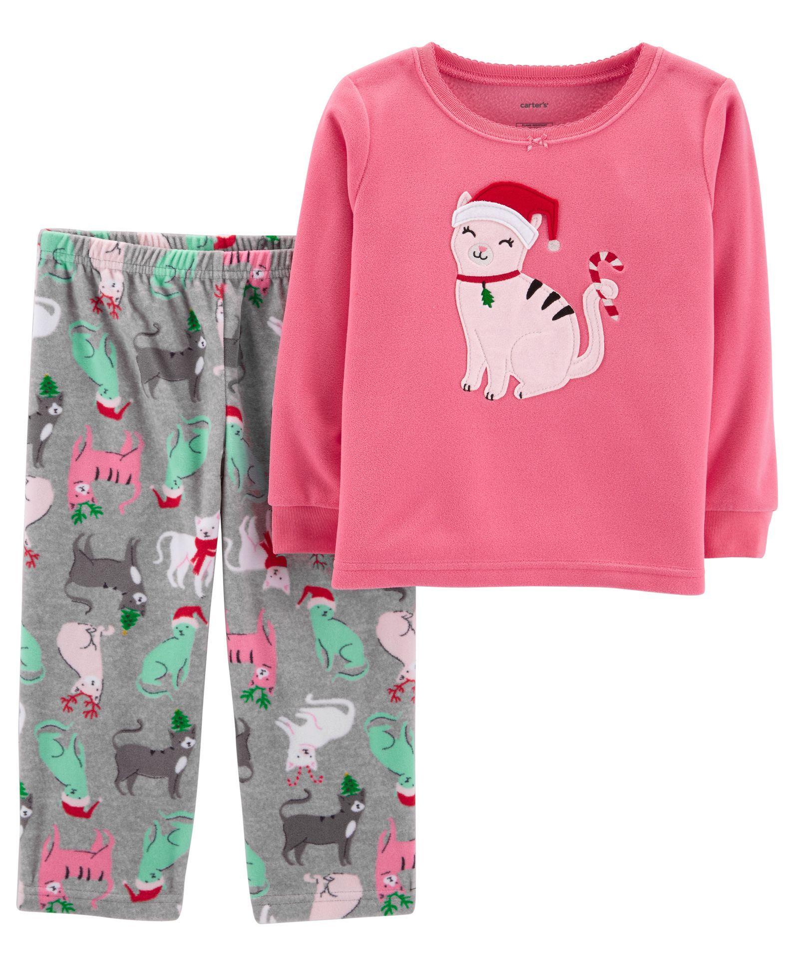 e7ba63531 Buy Carters 2 Piece Christmas Cat Fleece Pajama Pink   Grey for ...