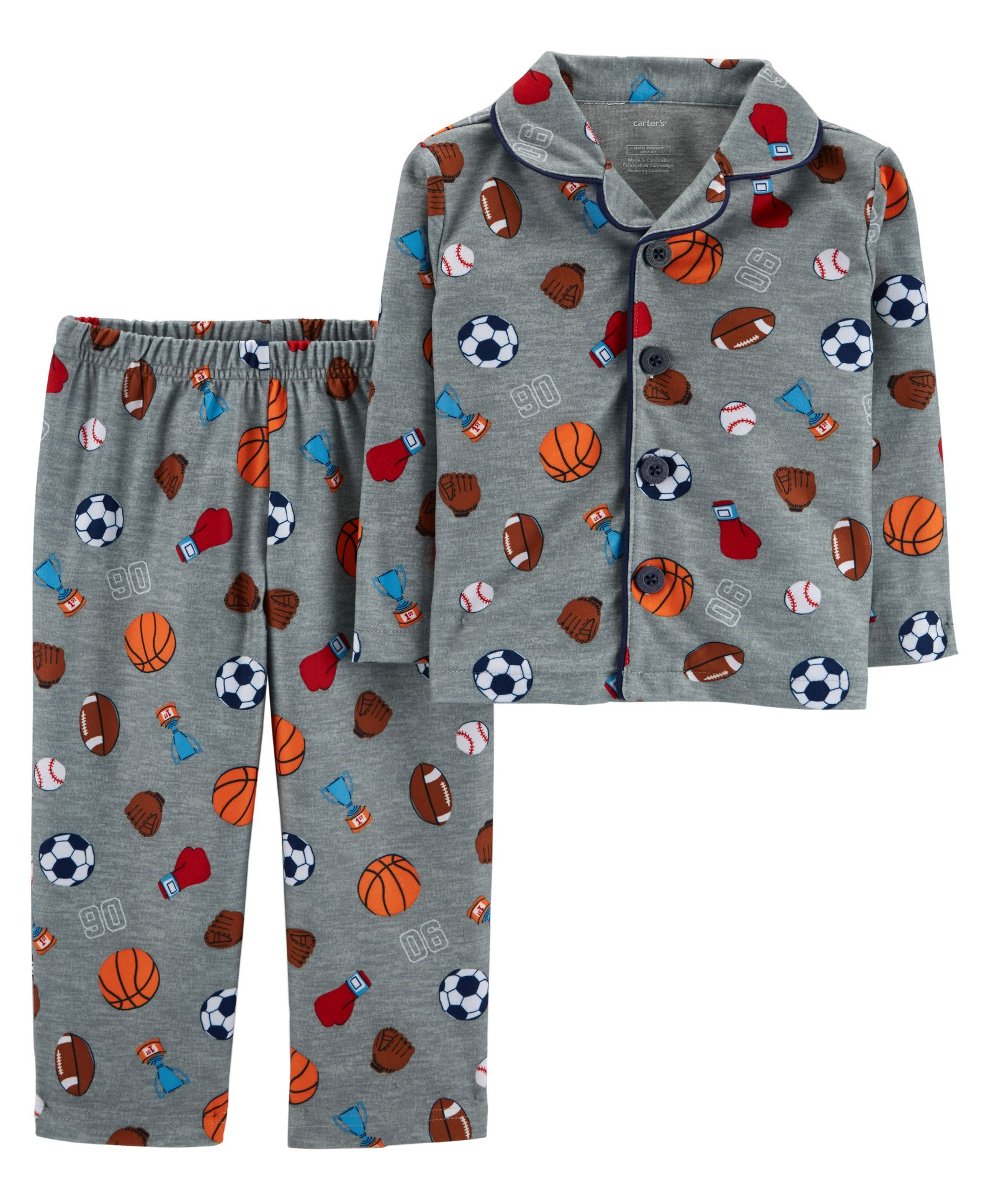 bc12e890d Buy Carters 2 Piece Sports Print Lightweight Fleece Pajama Grey for ...