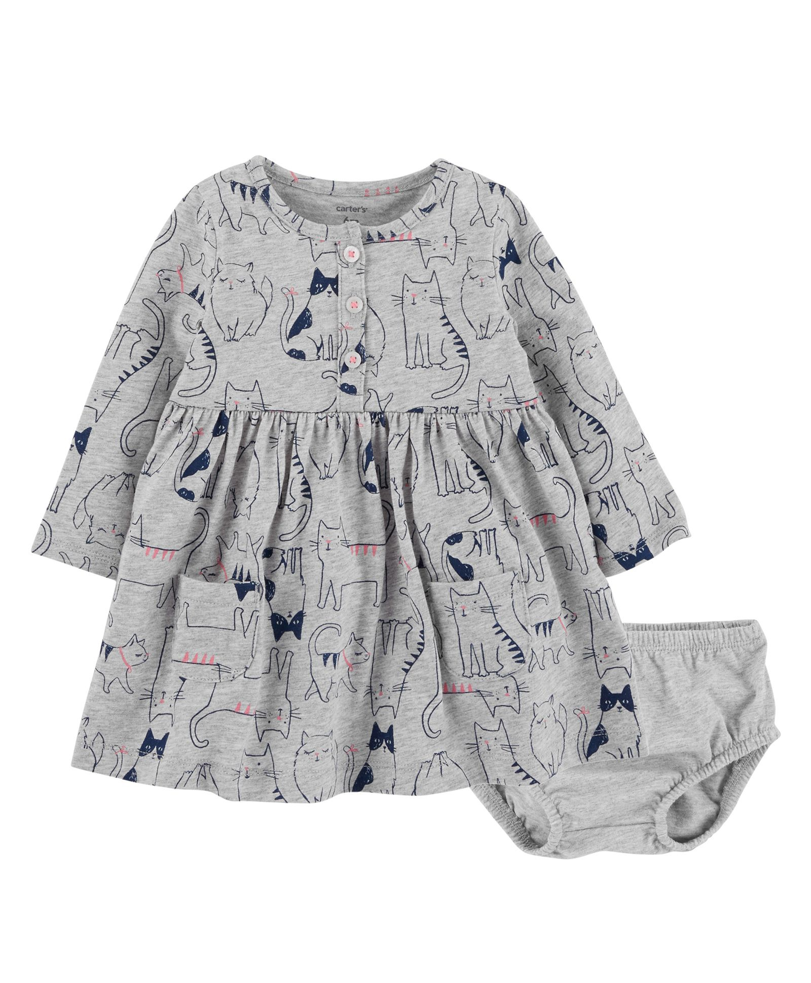 ae4754998 Buy Carters Full Sleeves Cat Jersey Dress With Bloomer Grey for Girls ...