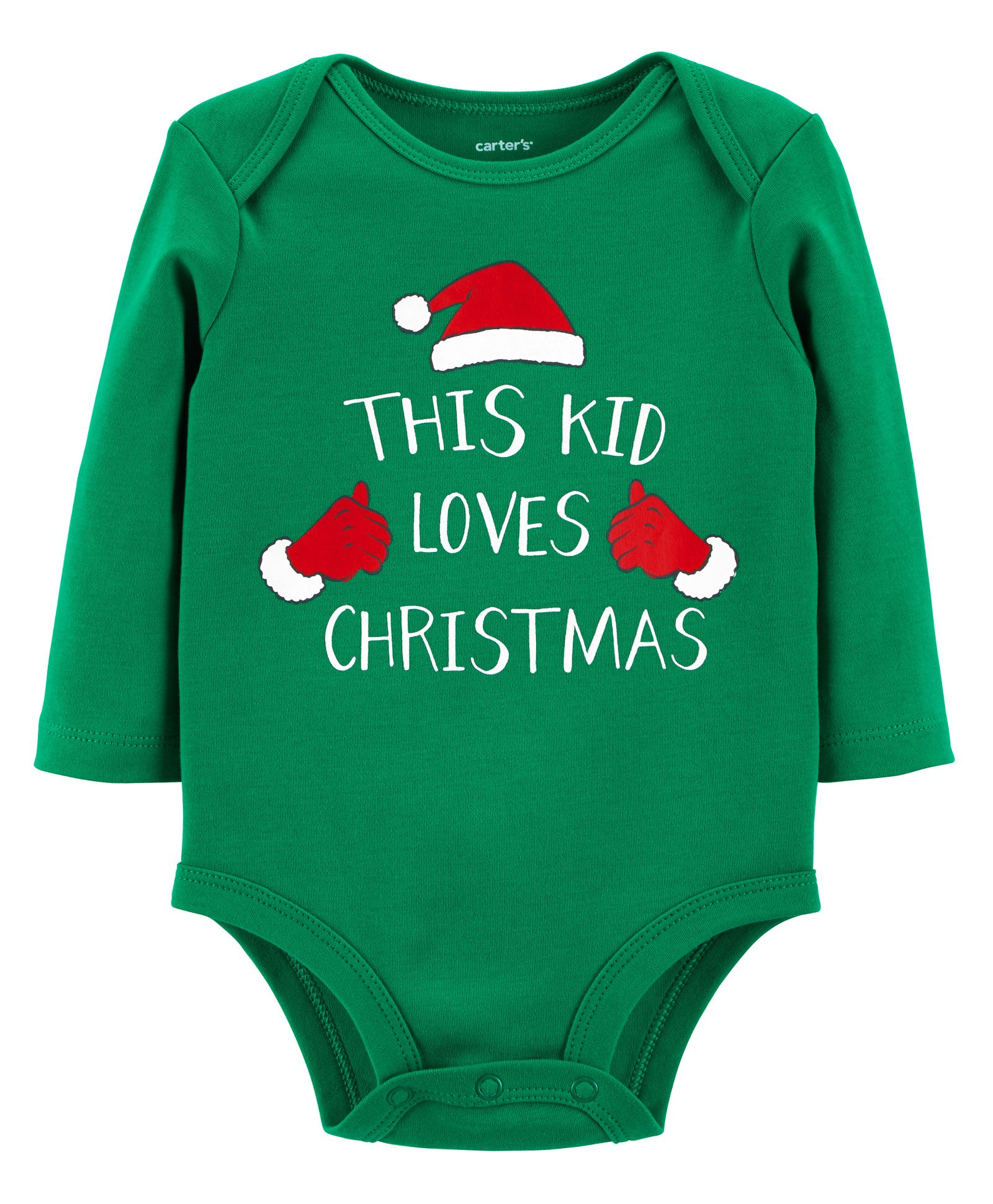 00f96d4b7 Carter's Full Sleeves Christmas Collectible Bodysuit - Green. 18 to 24  Months ...