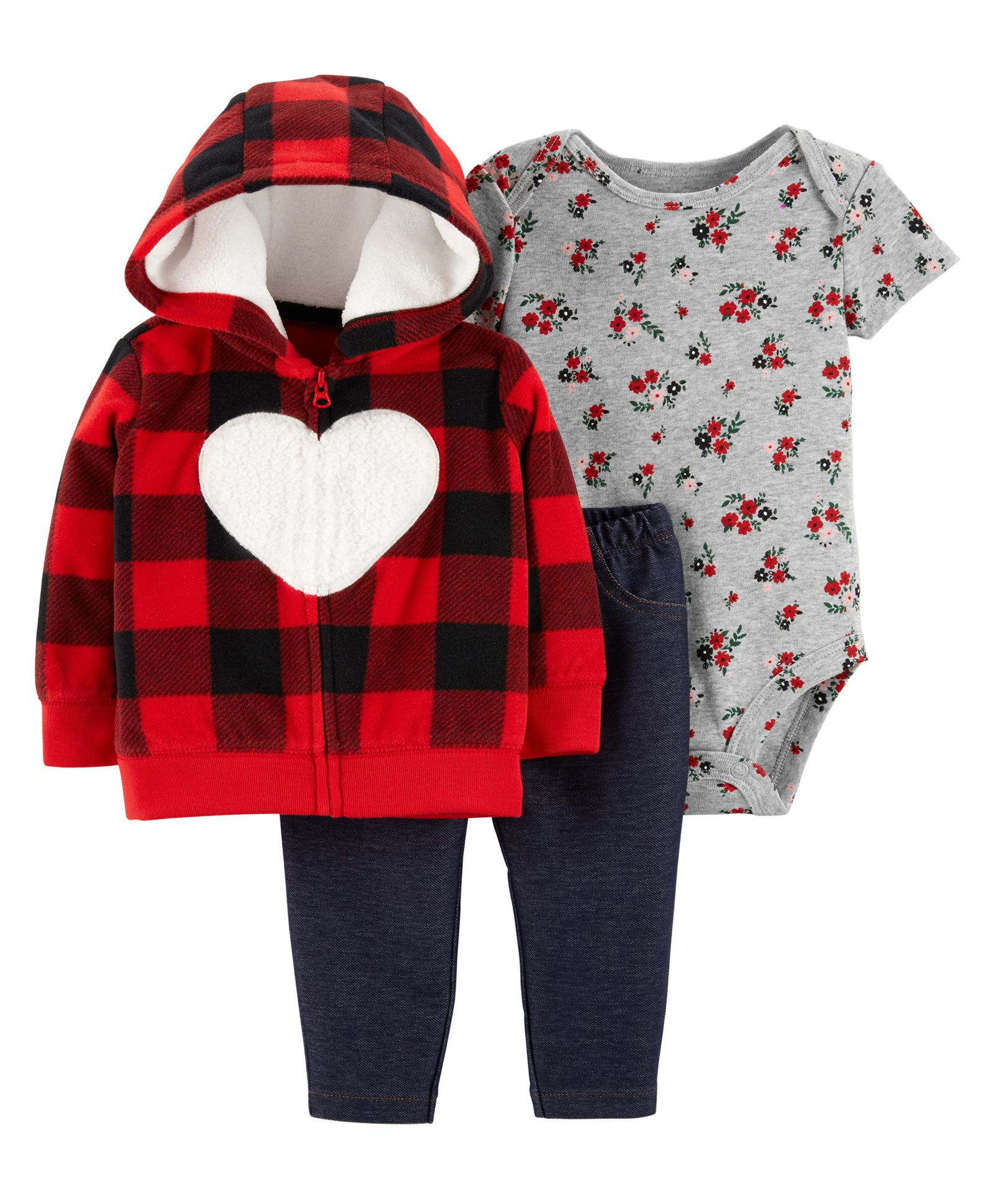 2a816ae5b4c1 Buy Carters 3Piece Little Jacket Set Red Grey for Girls (0-3 Months ...