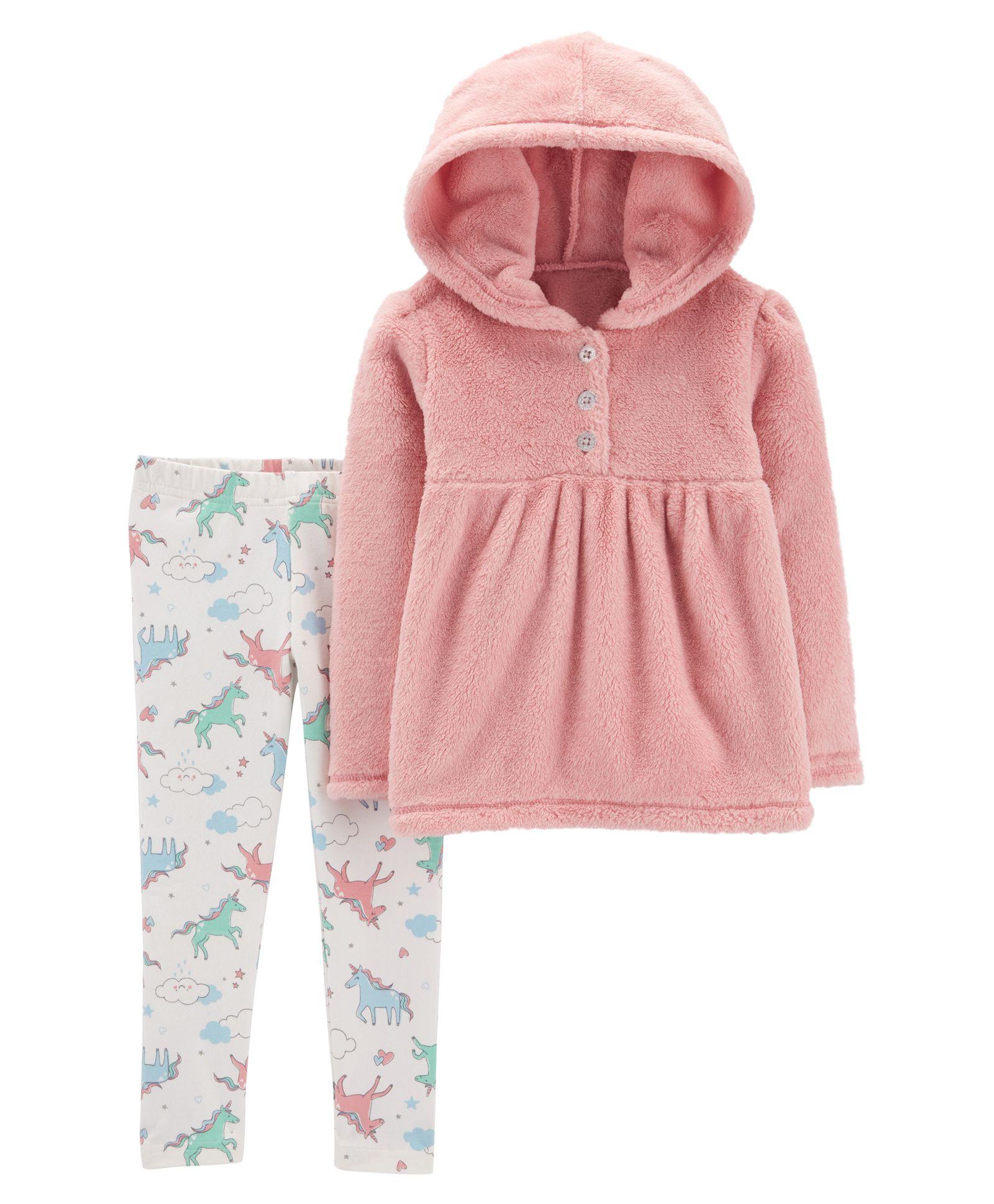 59bf3ad4a Carter s2-Piece Fuzzy Hoodie   Unicorn Legging Set - Pink White