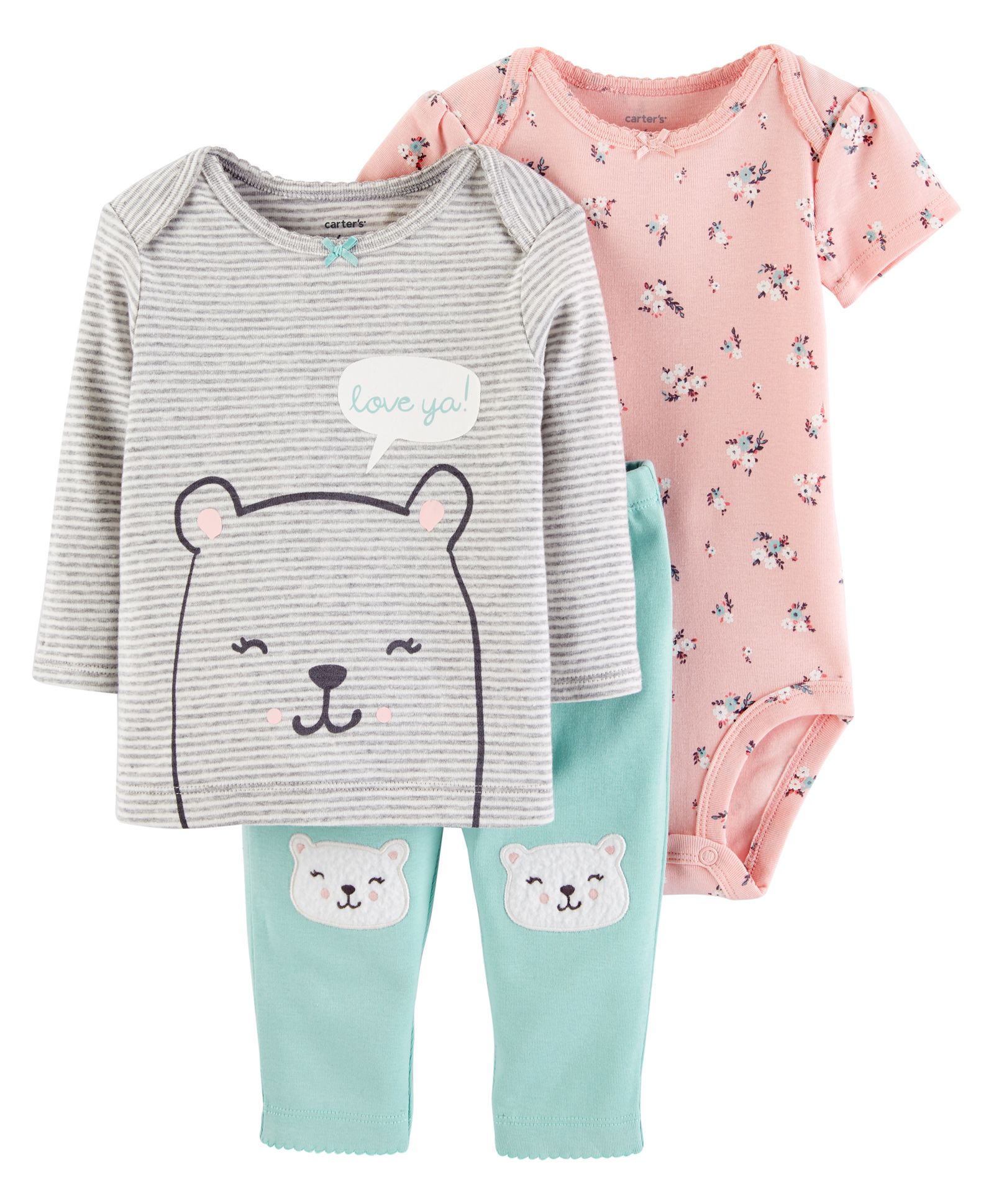 321b2fa6bbb Buy Carters 3Piece Little Character Set Pink Sea Green for Girls (3-6 ...