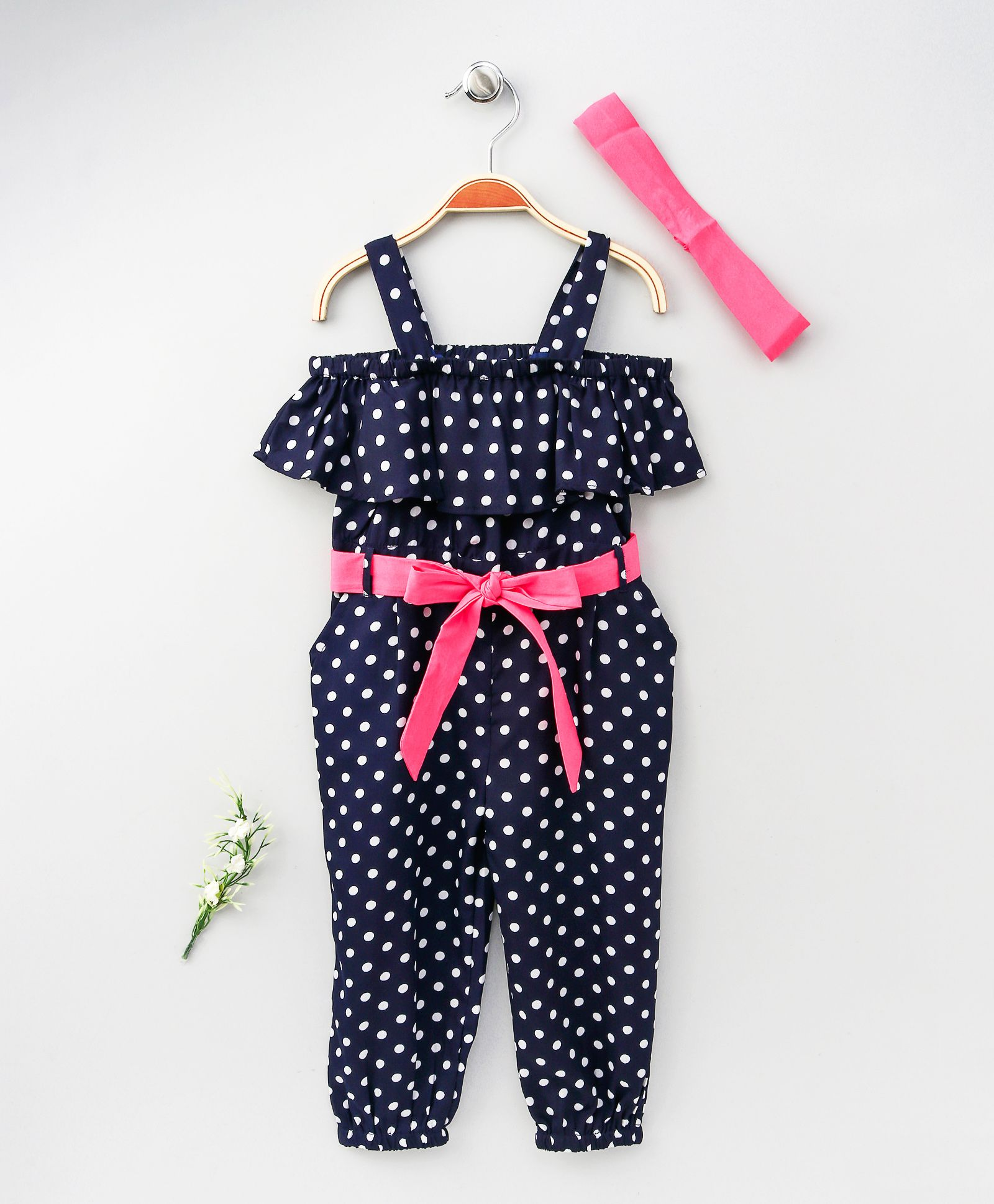 44b6188bd7a8 Lilpicks Couture Polka Print Off Shoulder Jumpsuit With Headband - Blue