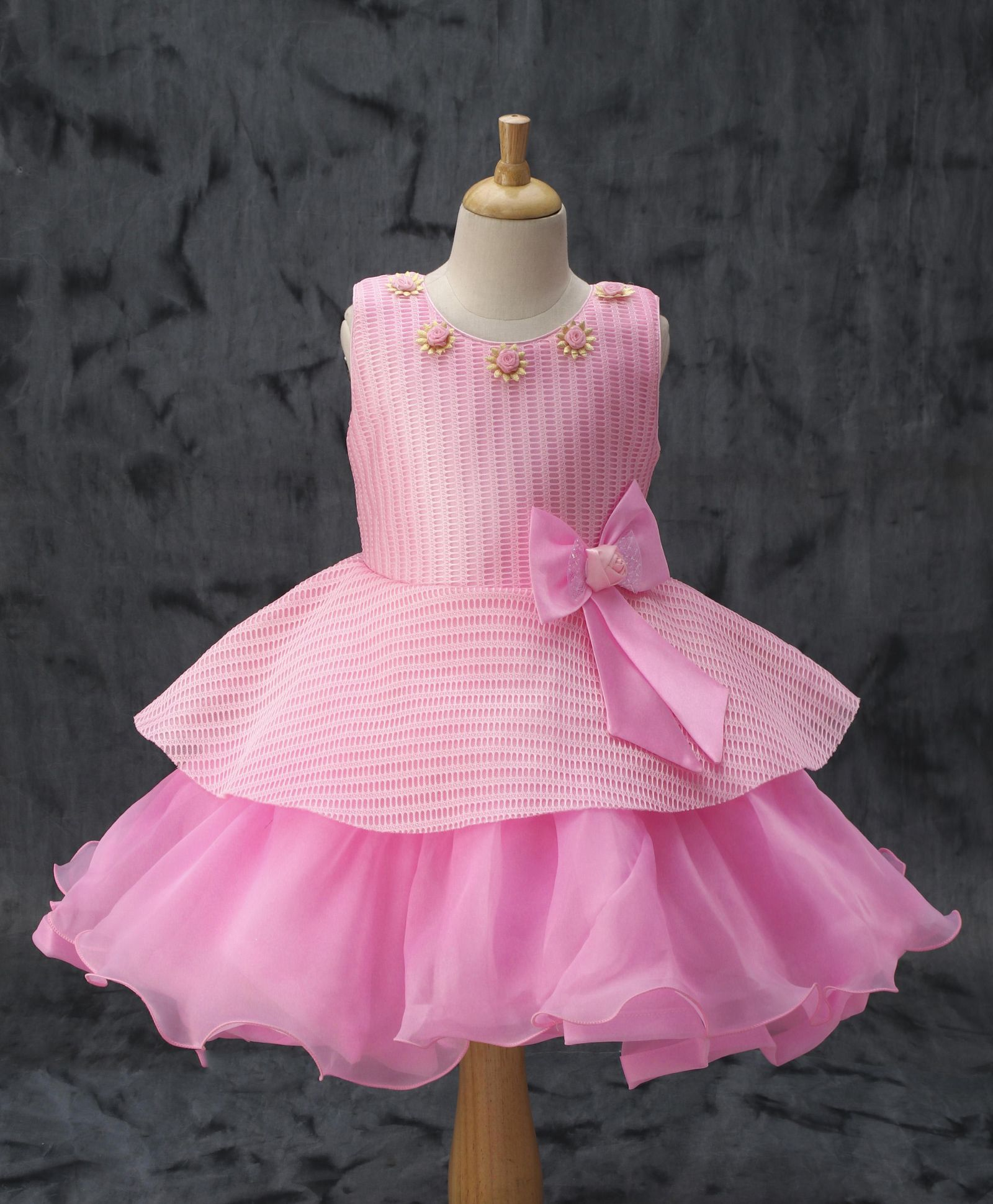 e39d85479656d Buy Enfance Layered Ruffle Dress With Waist Bow Pink for Girls (2-3 Years)  Online in India, Shop at FirstCry.com - 1969712
