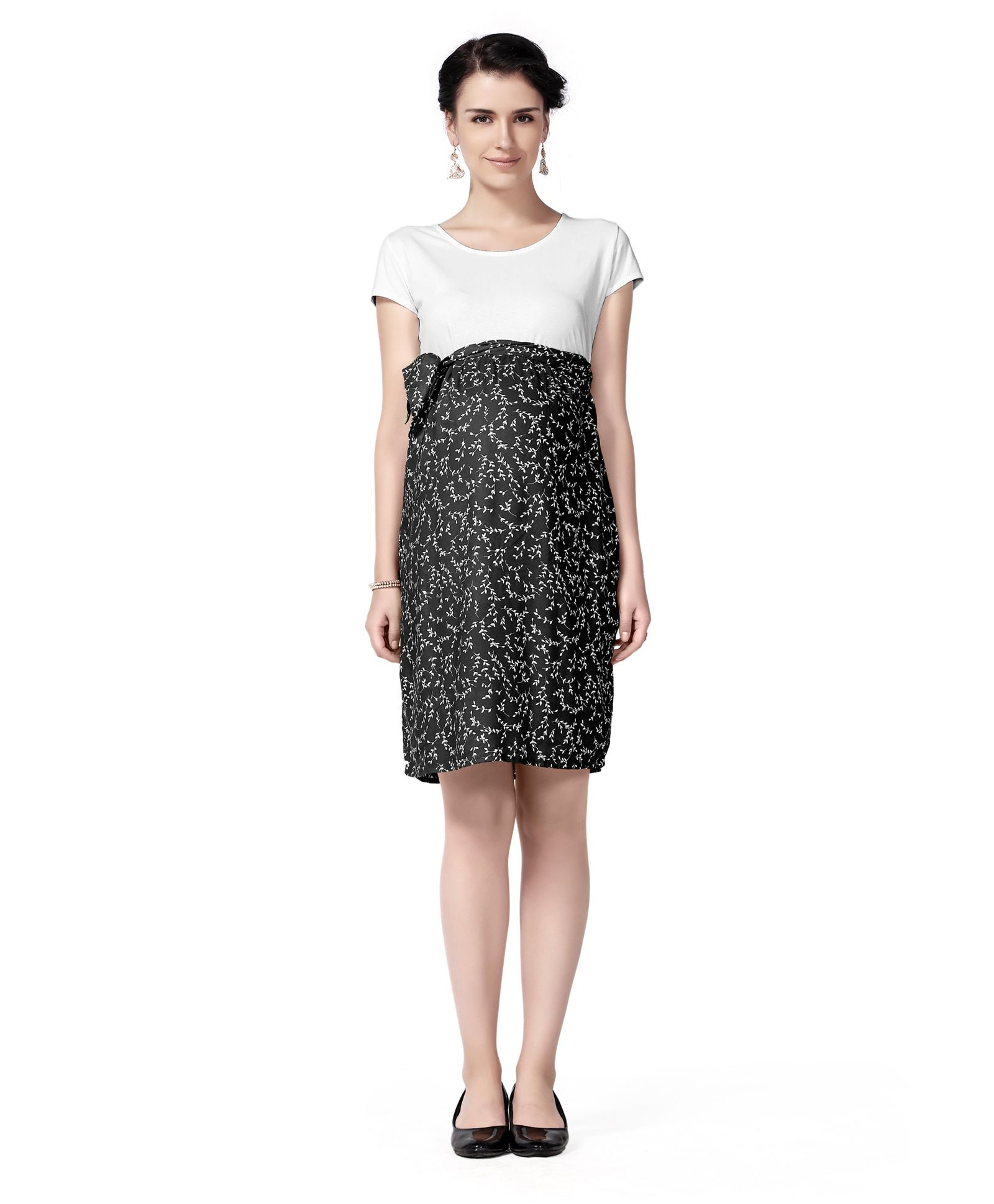 e6a604117c Innovative Maternity A Line Floral Dress Black   White Online in India ...
