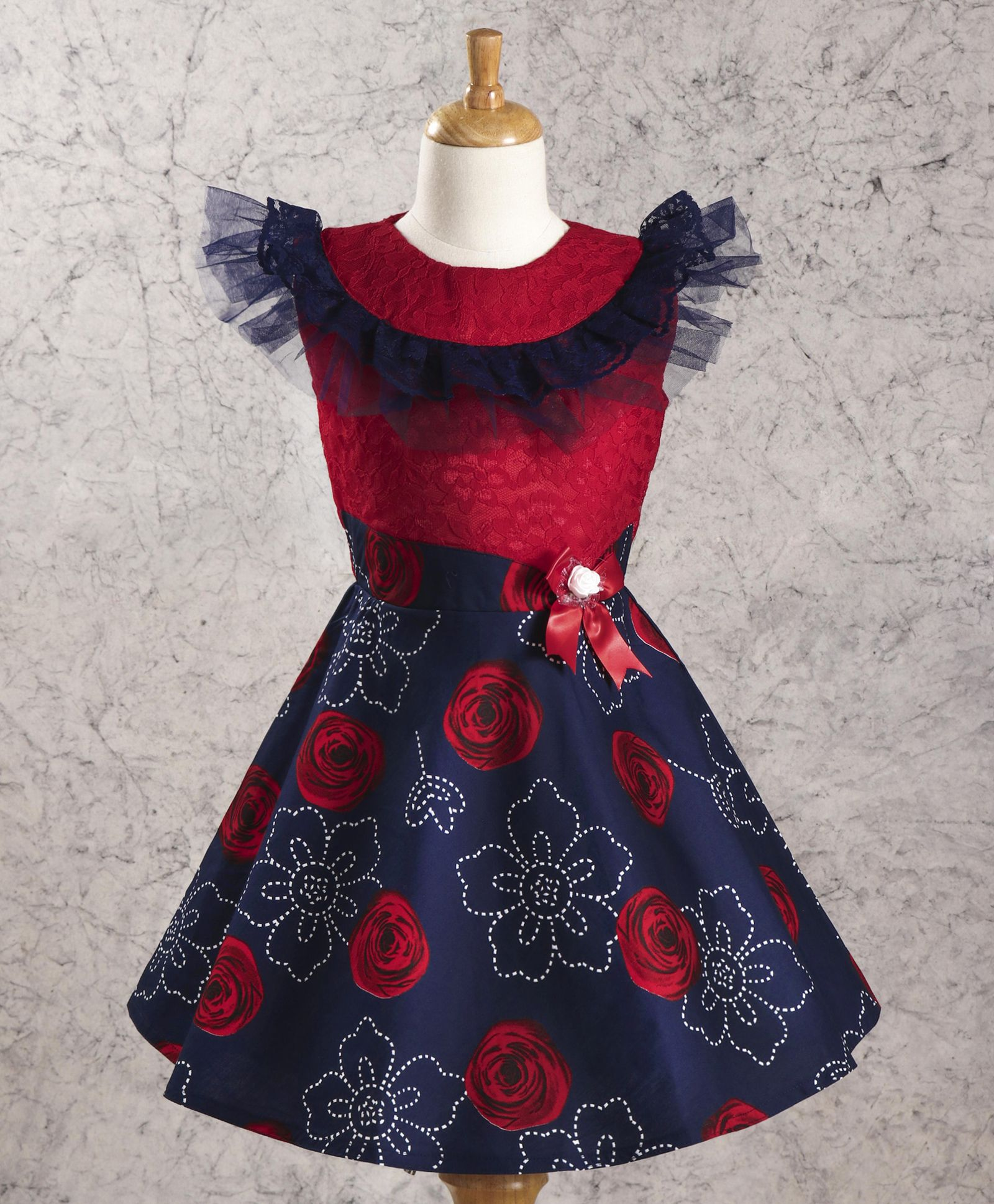 864684a5d173 Buy Enfance Core Frill Neck Floral Print Frock Red for Girls (4-5 ...