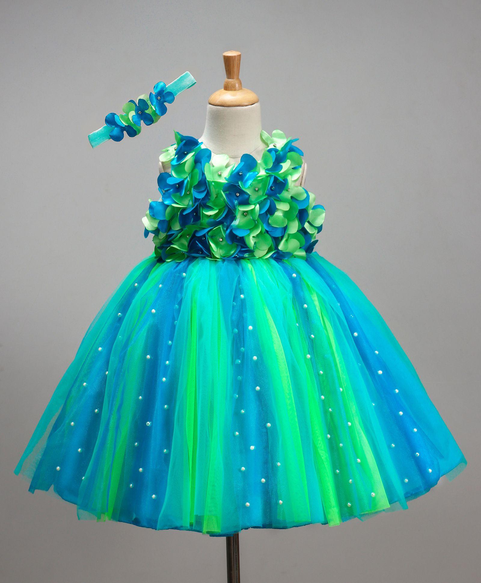 49c807df3 Buy Li&Li Boutique Netted Flower Dress Blue & Green for Girls (0-3 ...