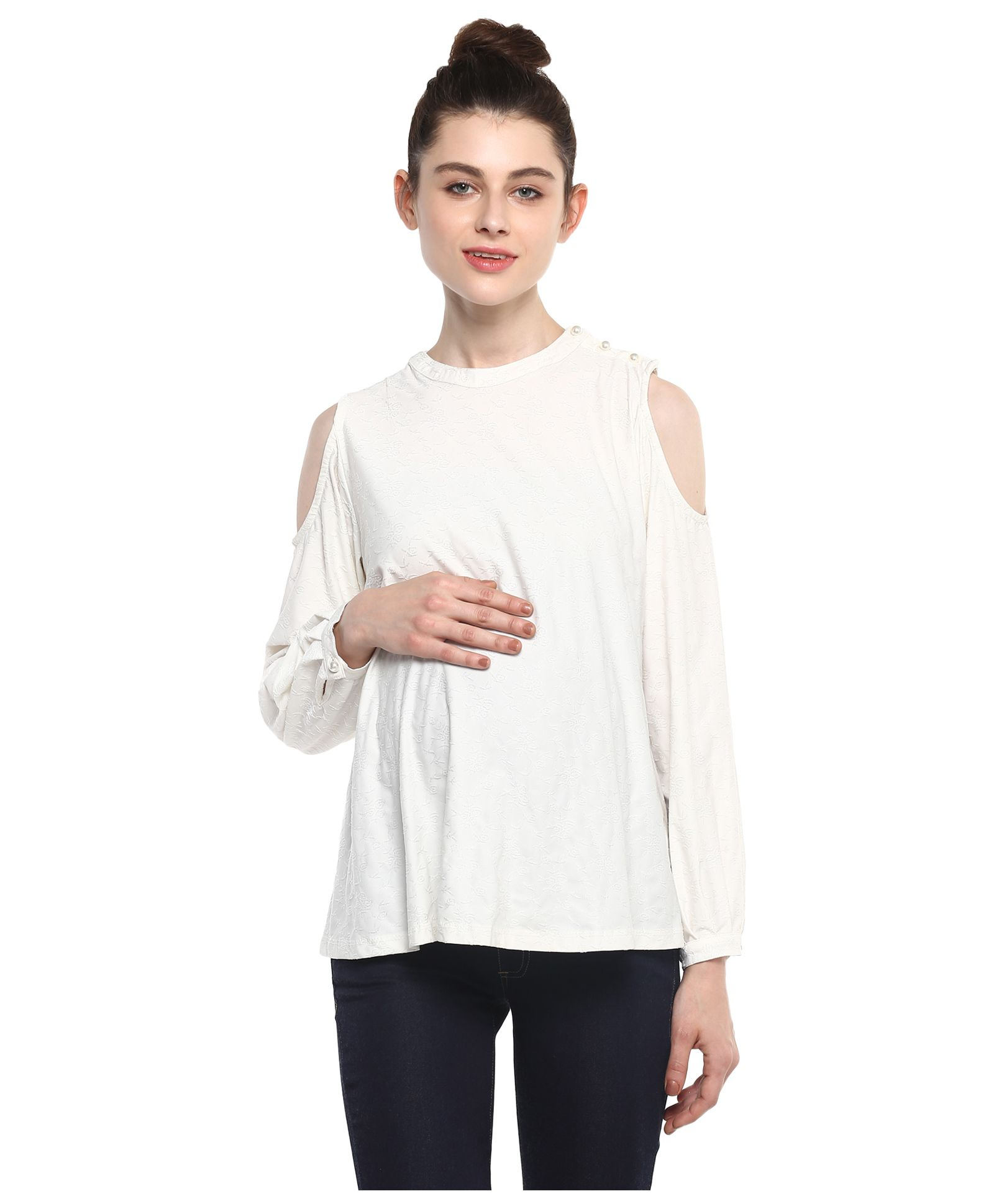1a7fd50bd6 Momsoon Maternity Solid Cold Shoulder Top White Online in India ...