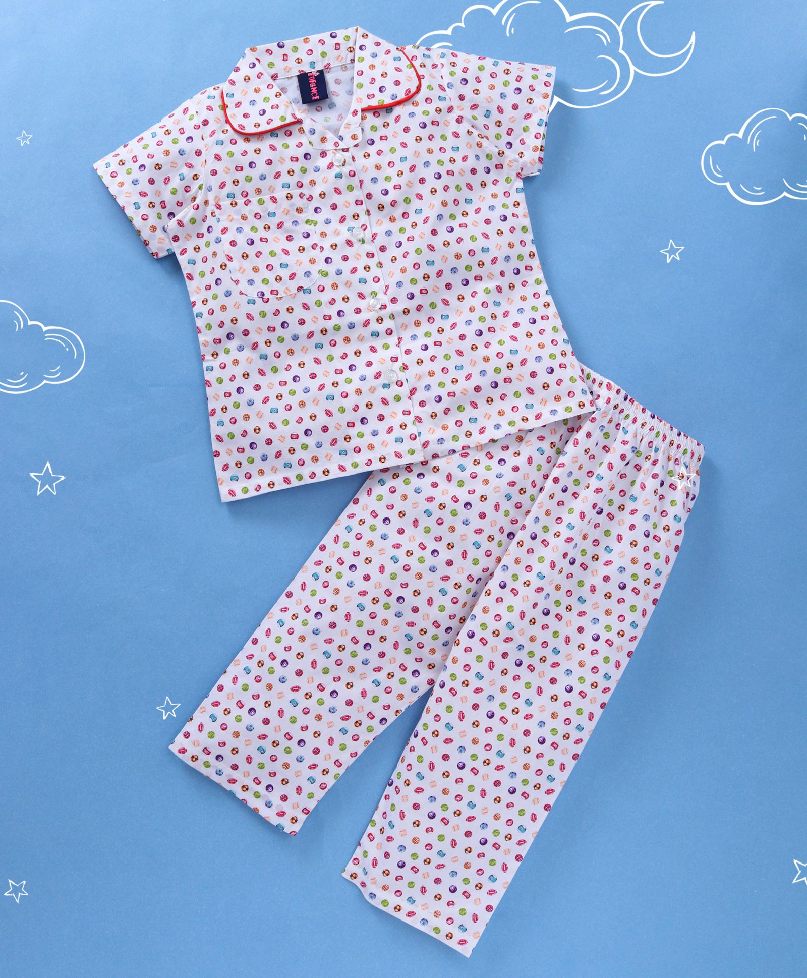 037cab0f20c2d Buy Enfance Core All Over Ball Print Night Suit White for Boys (1-2 Years)  Online in India, Shop at FirstCry.com - 2039627