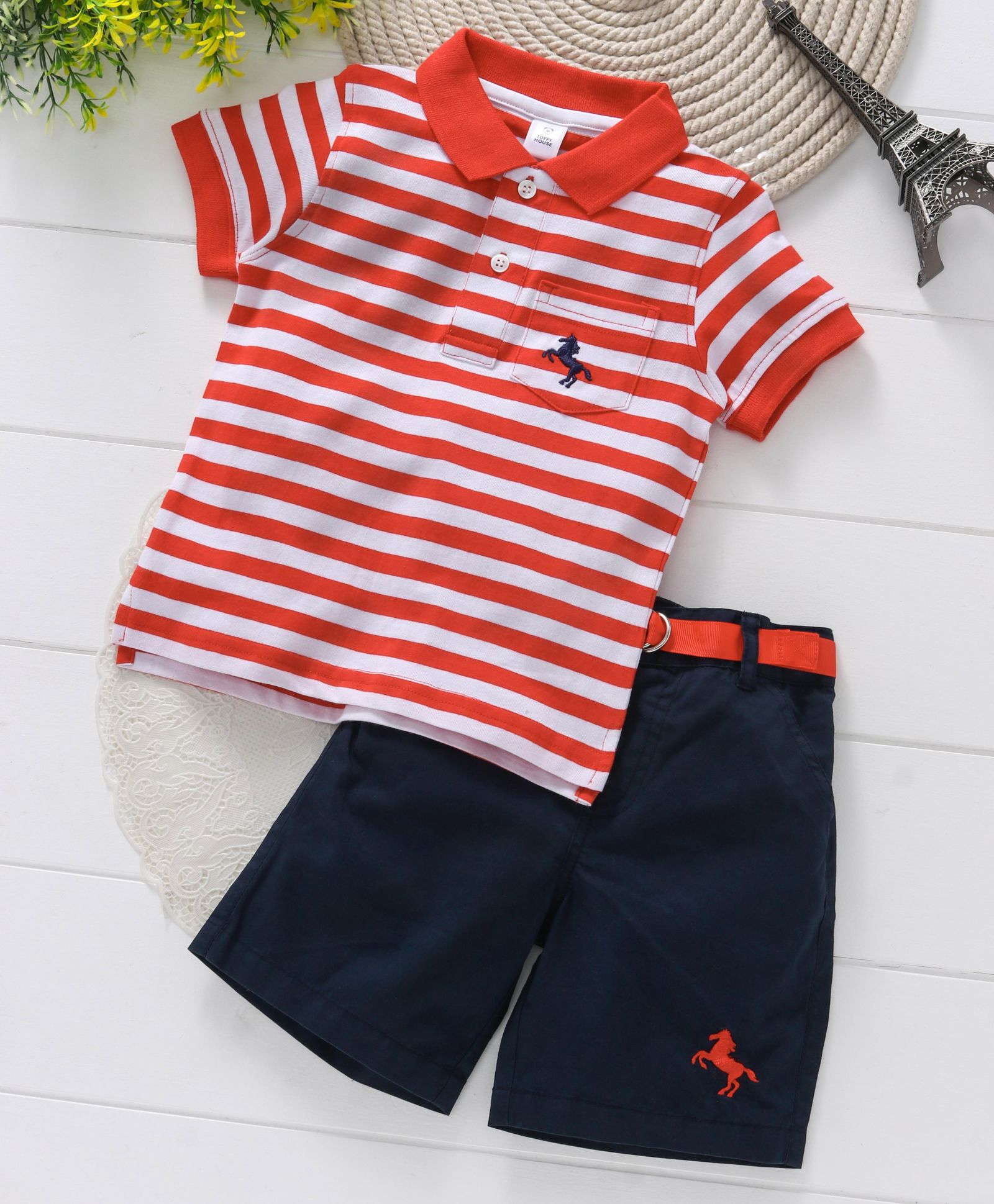 43109ec31 Buy ToffyHouse Polo TShirt And Shorts With Belt Red Navy for Boys (3 ...