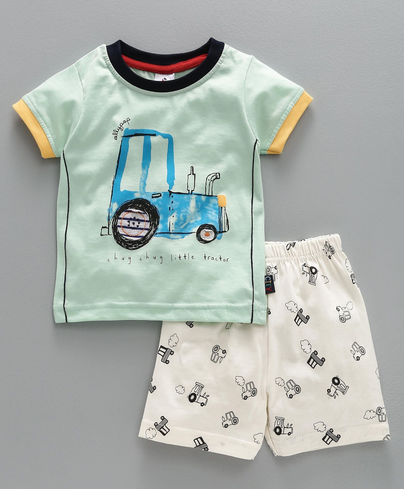 bab1f013e094 Buy Ollypop Half Sleeves TShirt With Shorts Aqua Green for Boys (3-6 ...