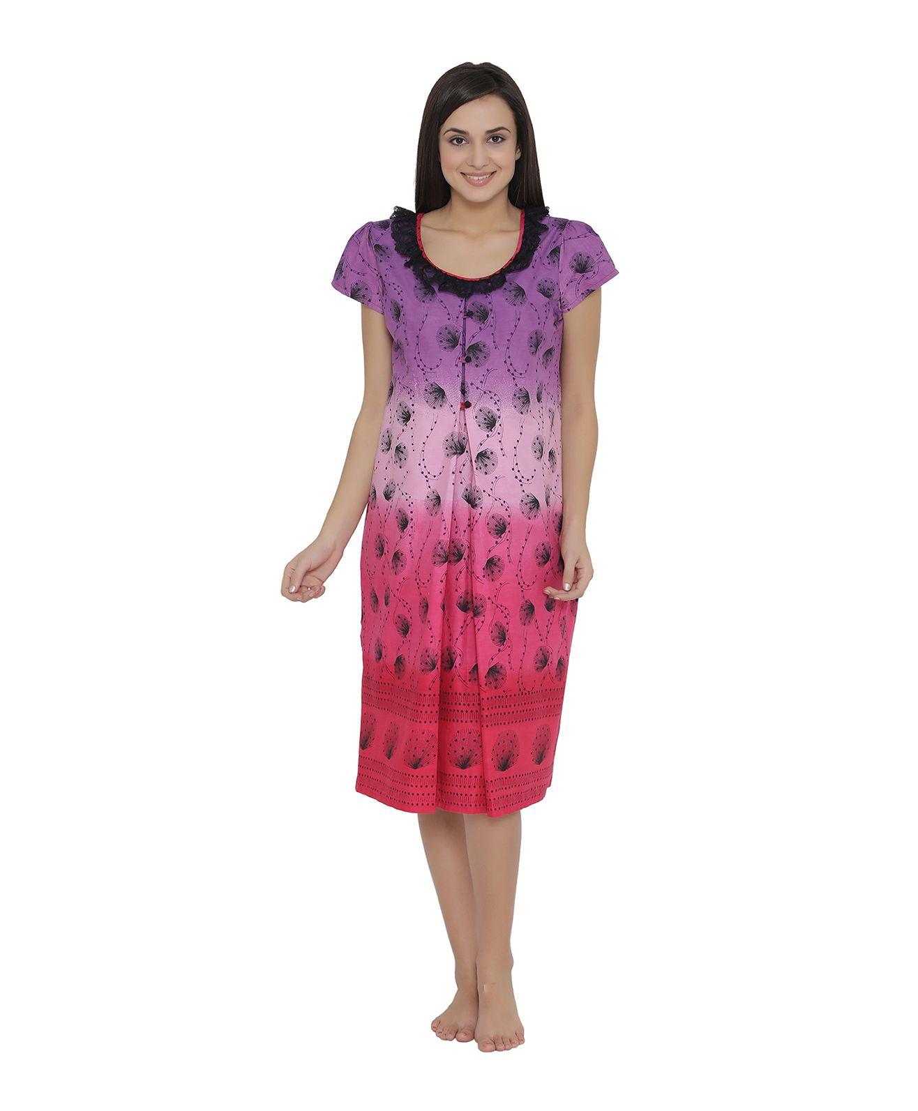 d9f52bb29e211 Clovia Short Sleeves Maternity Nursing Nighty Floral Print Purple ...