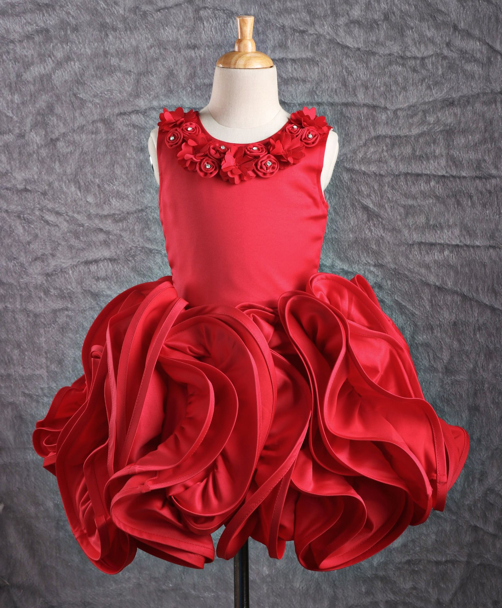 Buy Bluebell Sleeveless Party Wear Frock Rose Flared Dress Red for ... bc3616bfb