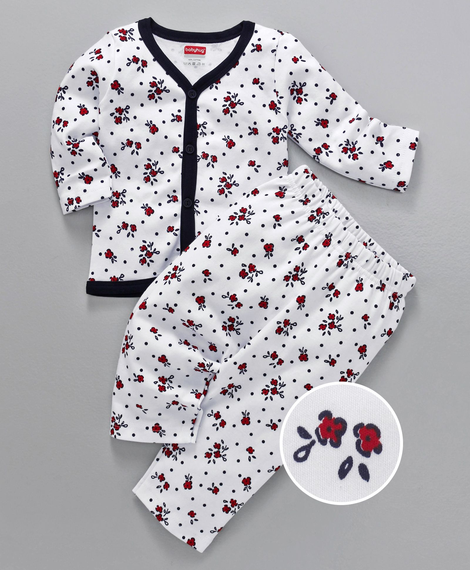 5247e42541a Buy Babyhug Full Sleeves Cotton Night Suit Floral Print White Navy ...
