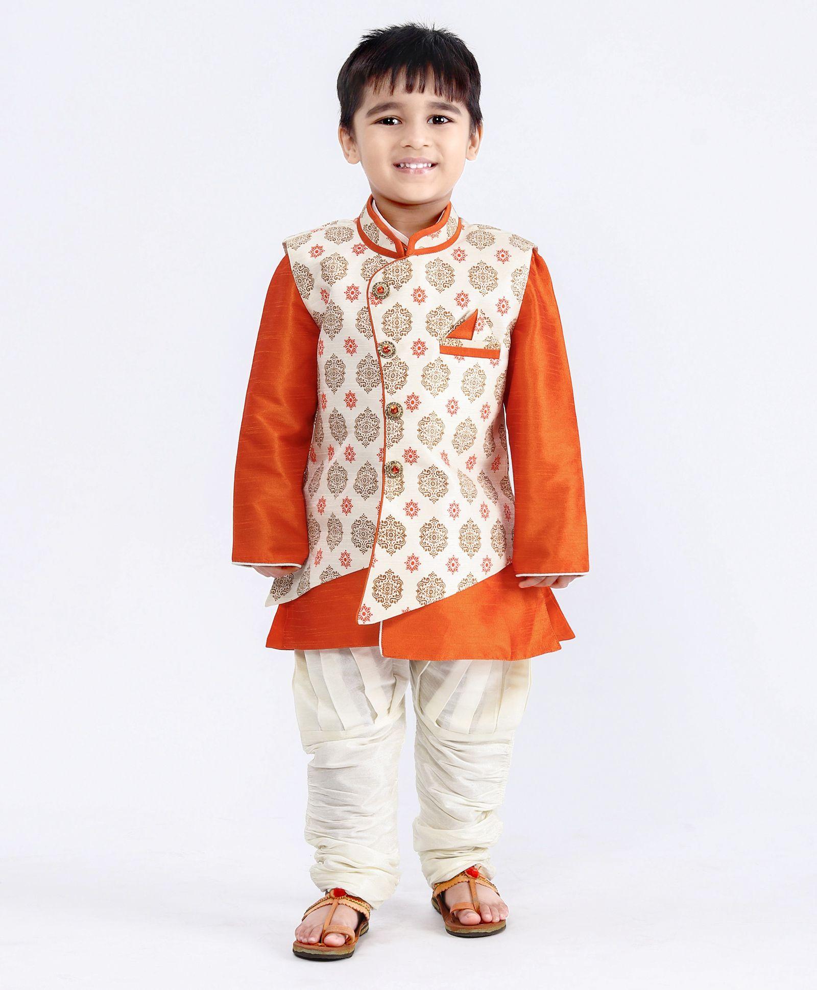 74c0ce2a3c Buy Babyhug Kurta Pajama Jacket Set Orange for Boys (5-6 Years ...