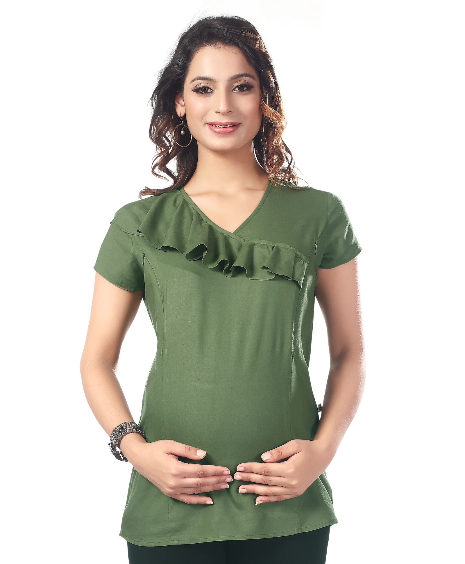 eaa34ca2238 Kriti Short Sleeves Maternity Top Frill Design Olive Green Online in ...
