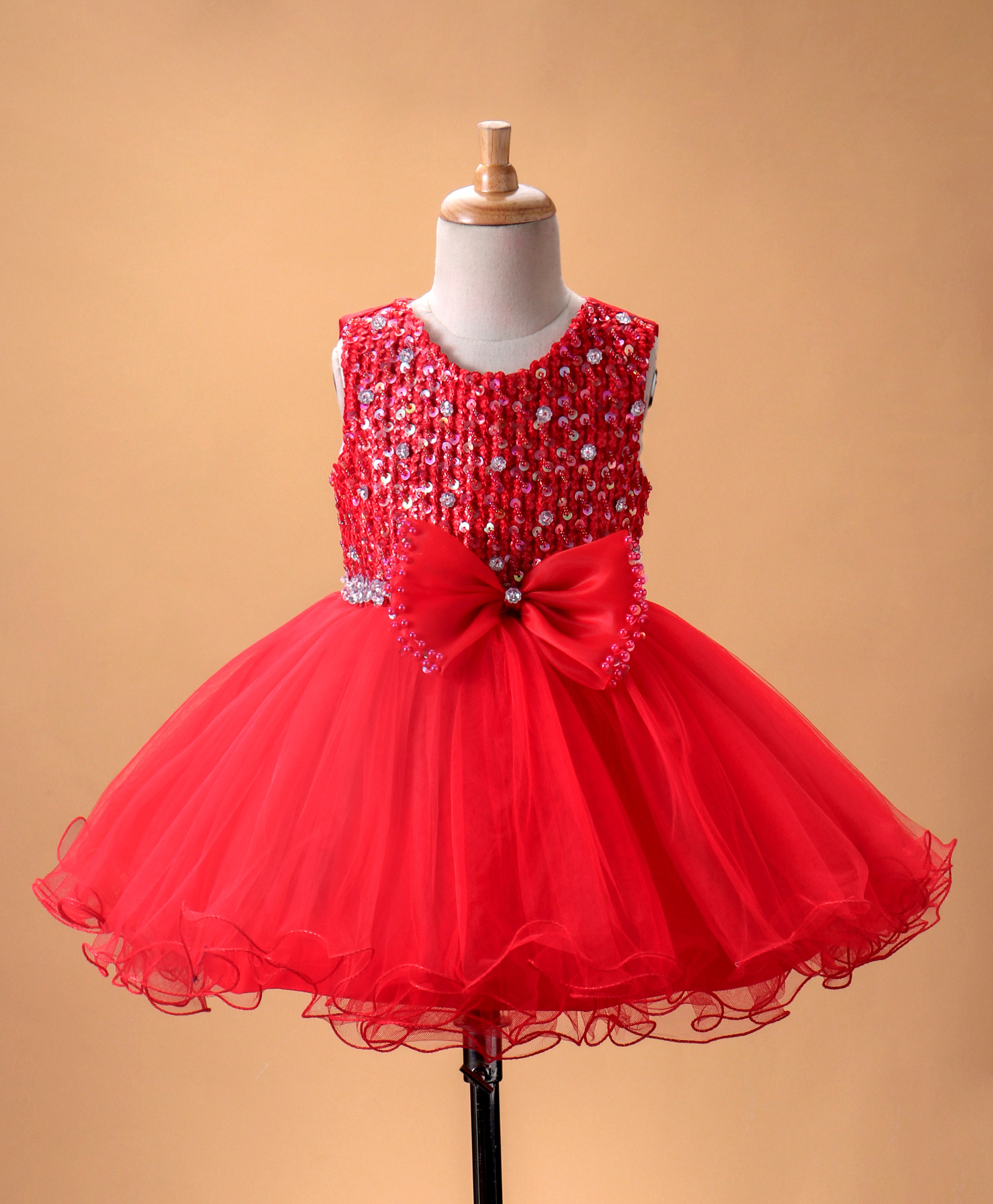 06fbf831f9 Buy Mark & Mia Sequin Embellished Dress With Bow Red for Girls (0-3 Months)  Online in India, Shop at FirstCry.com - 2152943