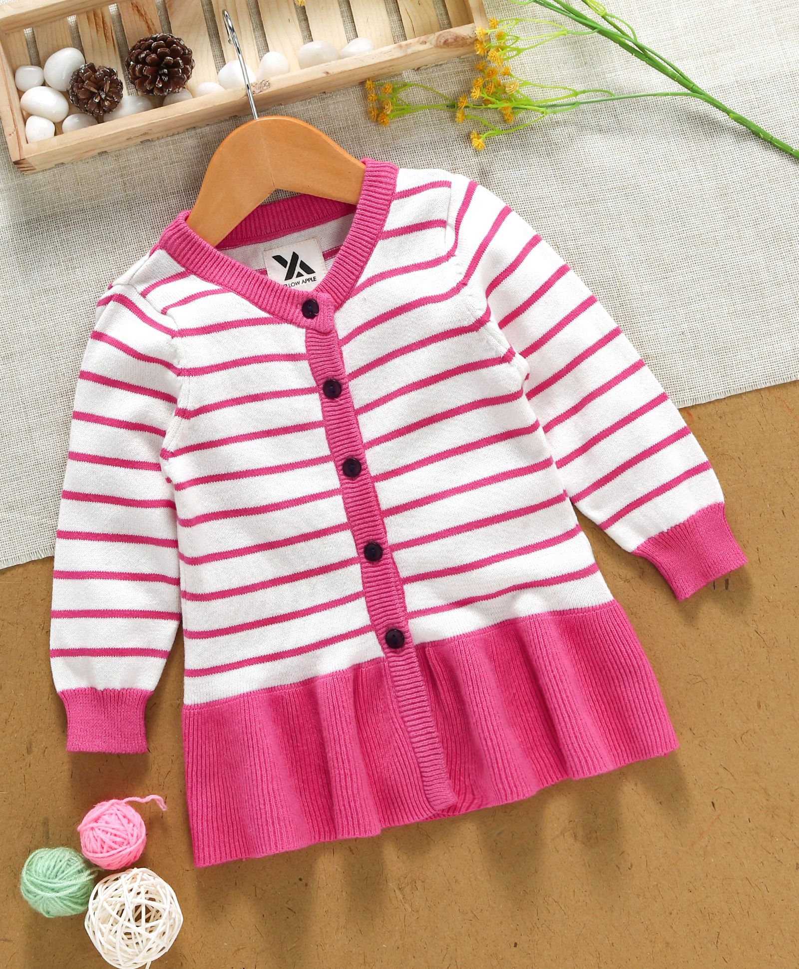 b356b2513 Buy Yellow Apple Full Sleeves Winter Wear Frock Pink for Girls (2-3 ...