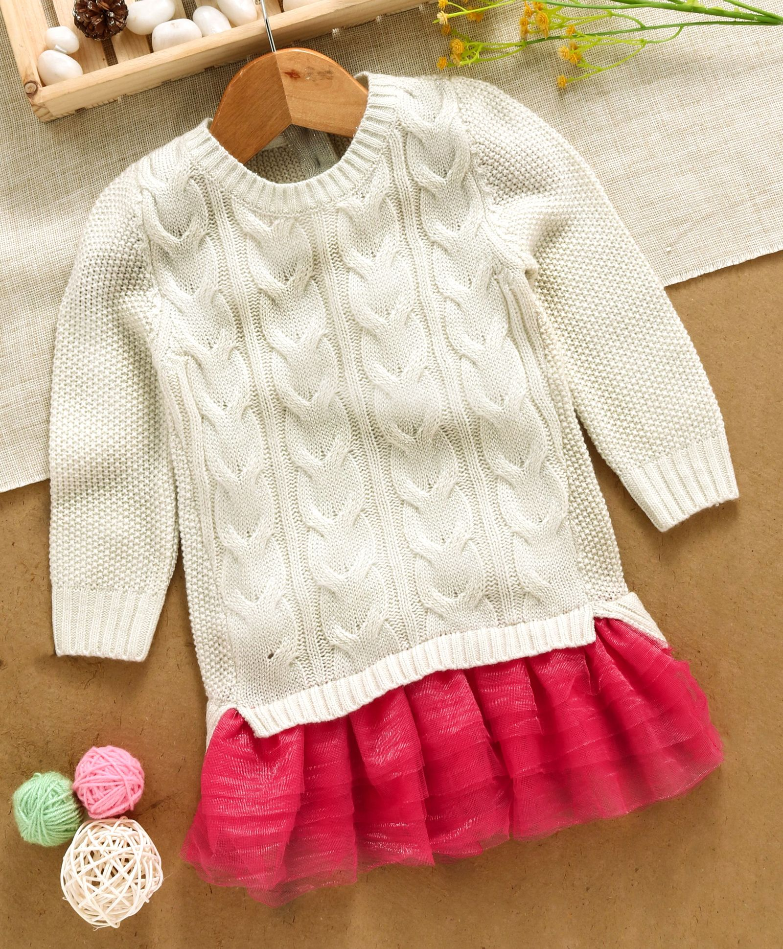 830f90171 Buy Yellow Apple Full Sleeves Winter Wear Frock White Pink for Girls ...