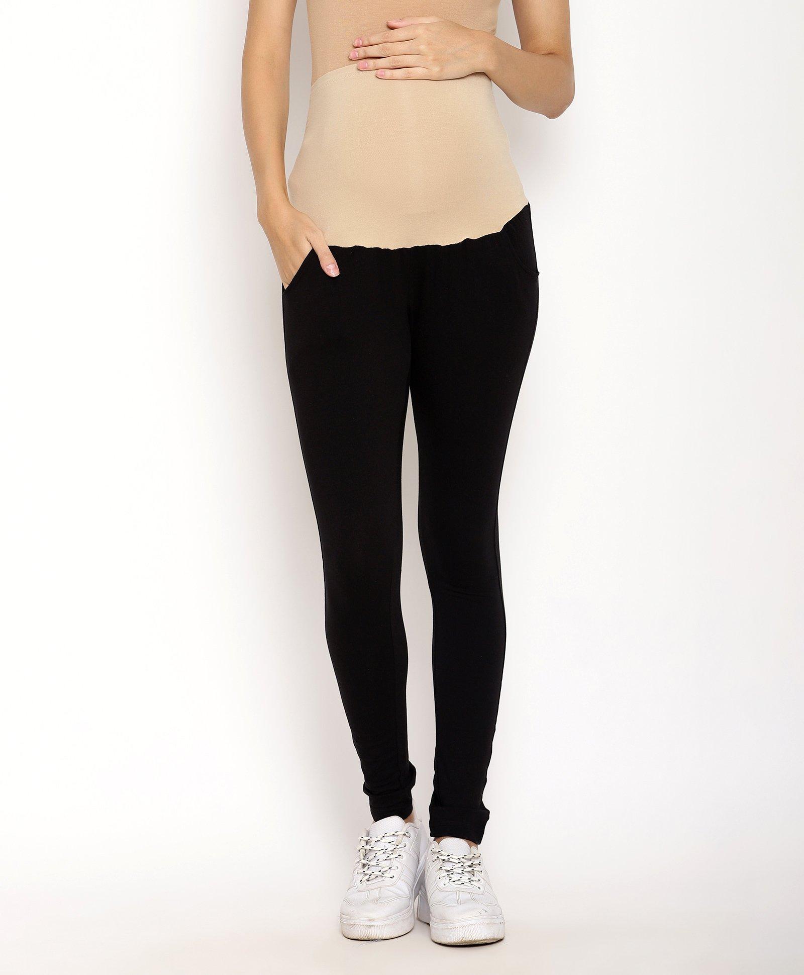 f396c6d96a5ab Kriti Full Length Maternity Leggings With Tummy Hug Black Online in ...