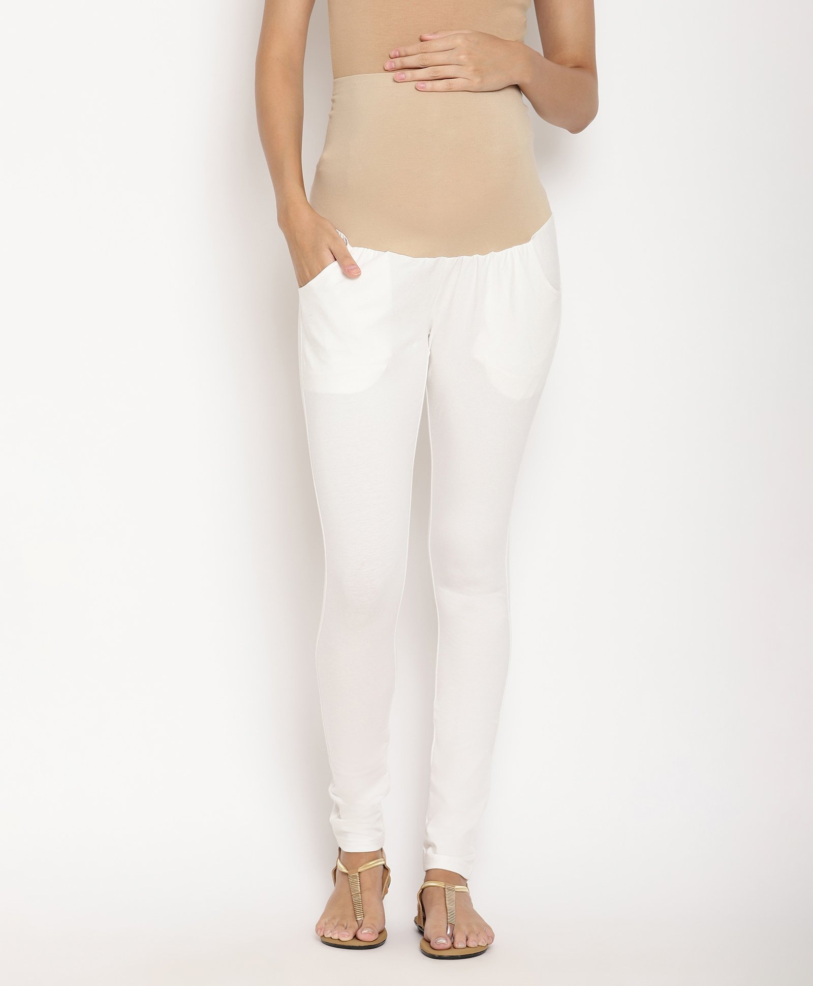 9d87de78cf82a1 Kriti Leggings With Attached Tummy Hug & Pockets White Online in ...