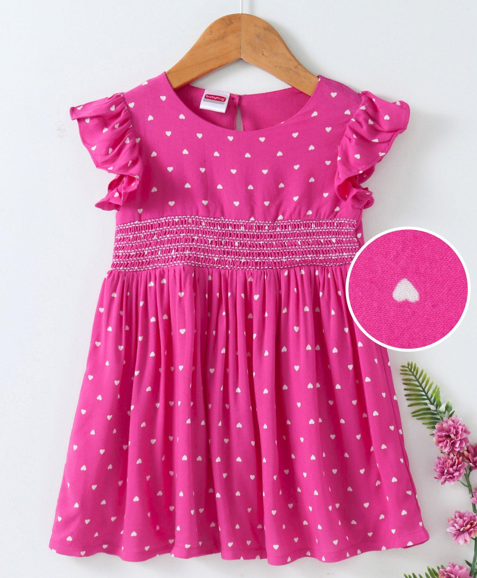 dc8bc1ef6 Buy Babyhug Flutter Sleeves Viscose Frock Heart Print Pink for Girls ...