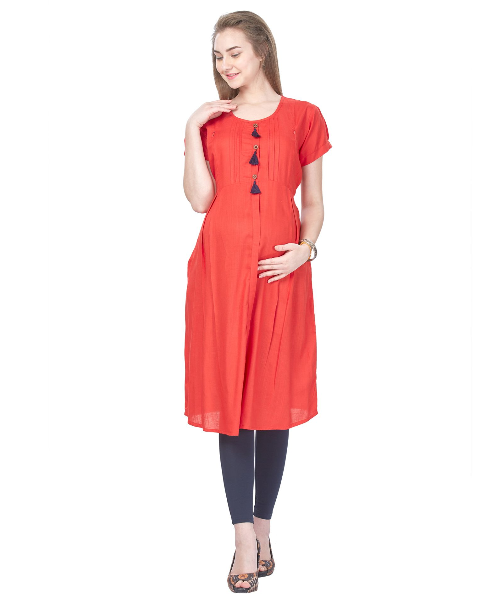 555c7aa5a6f0 MomToBe Short Sleeves Rayon Maternity Dress Red Online in India ...