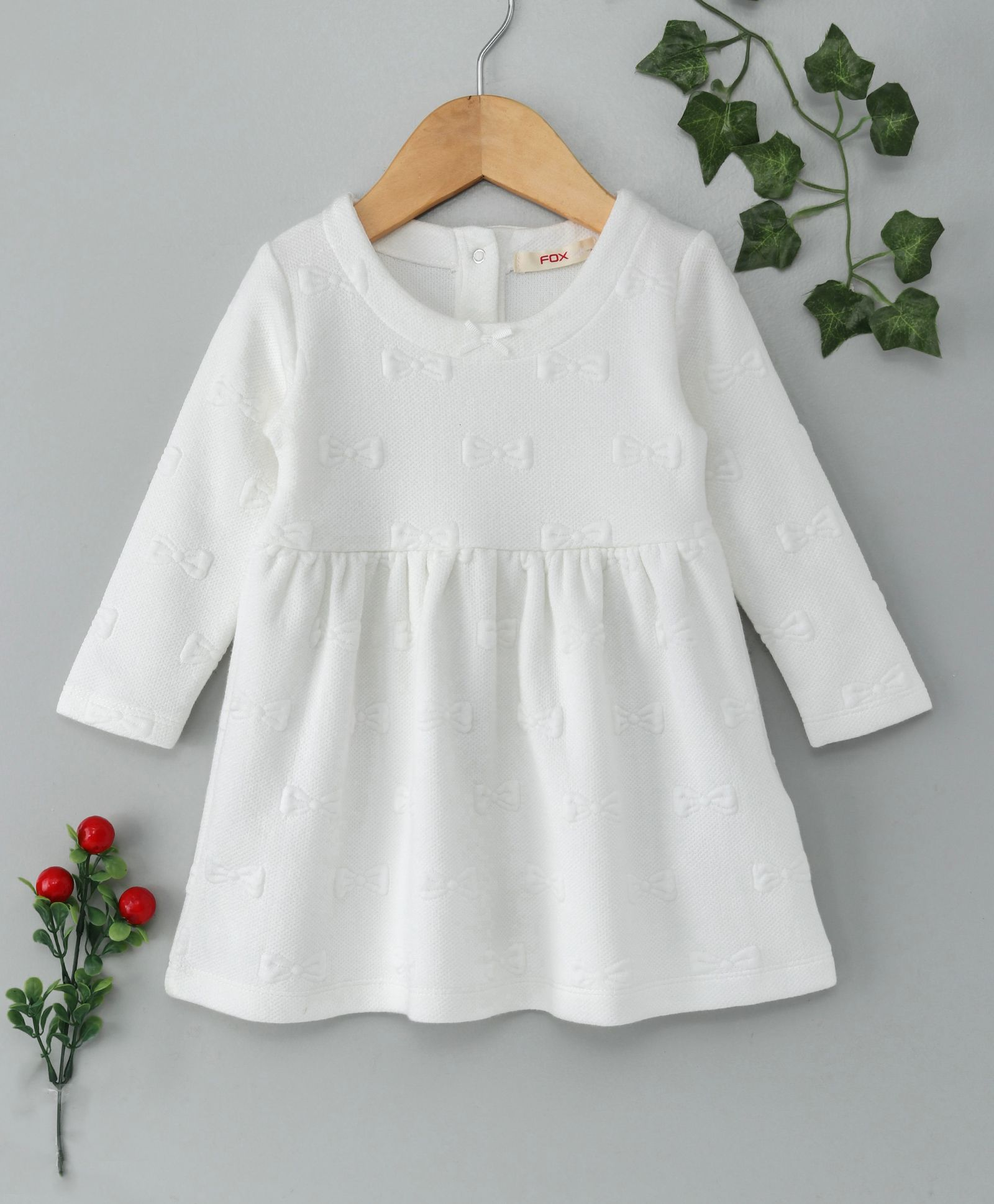 8bc9ac2a7 Buy Fox Baby Full Sleeves Frock Bow Design Off White for Girls (12 ...