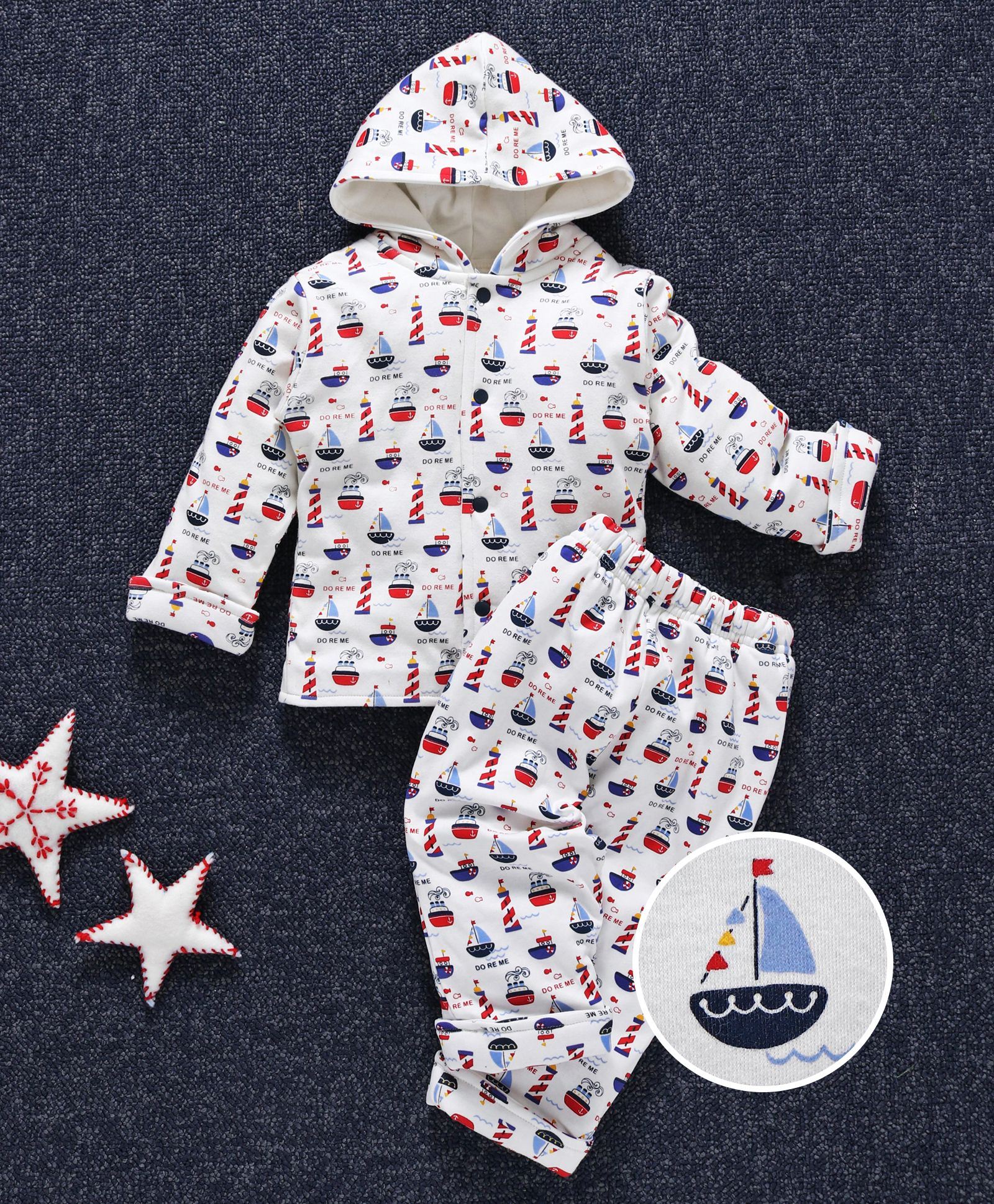4c1cc8ae Buy Doreme Full Sleeves Hooded Winter Wear Set Boat Print White ...