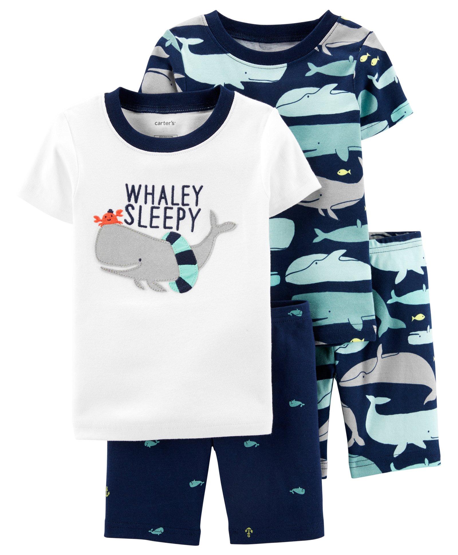 Carters 4-Pc Baby Girls Whale Printed Cotton Pajamas Set