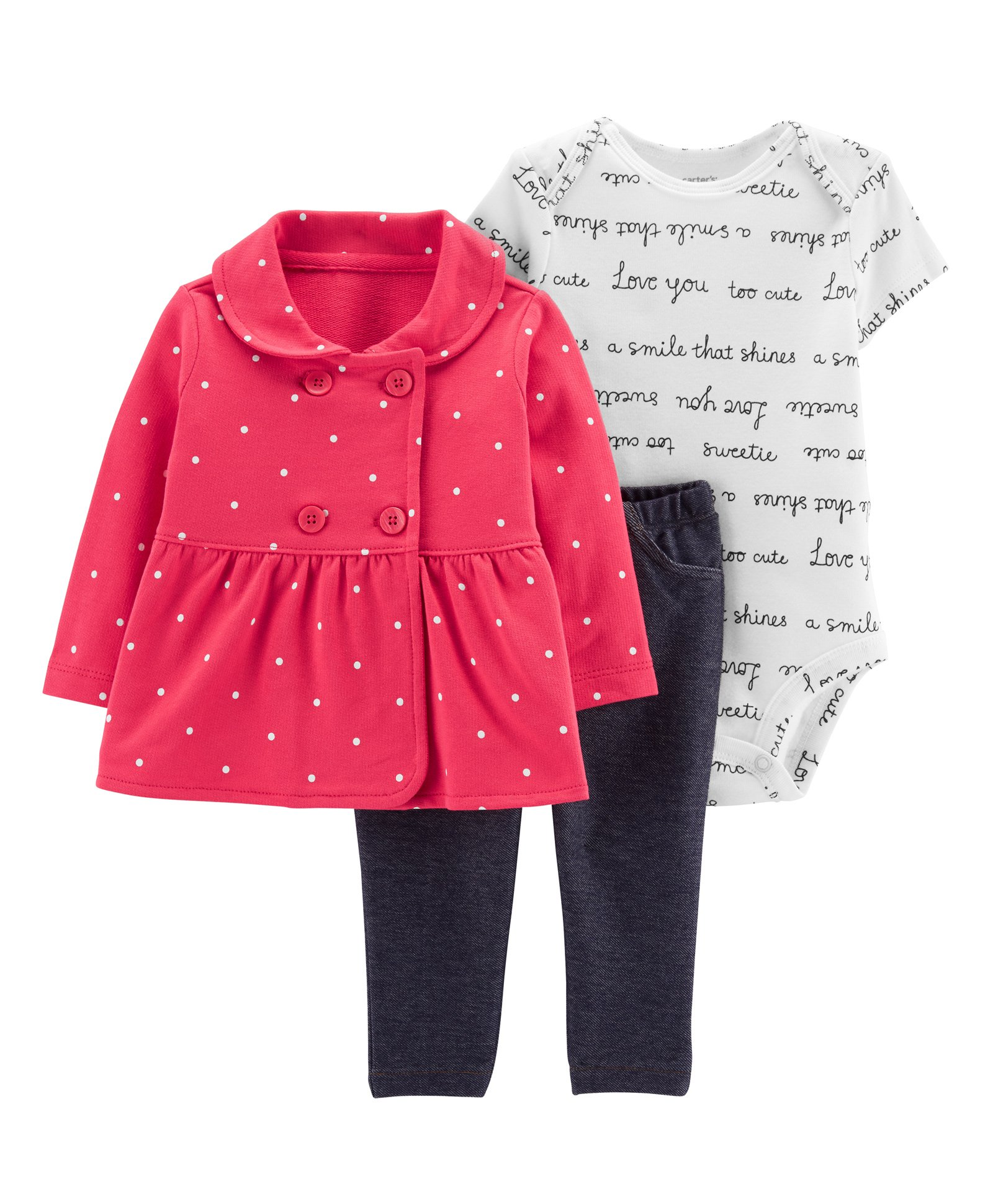 99cd071e6126 Buy Carters 3Piece Little Jacket Set Red White for Girls (9-12 Months ...