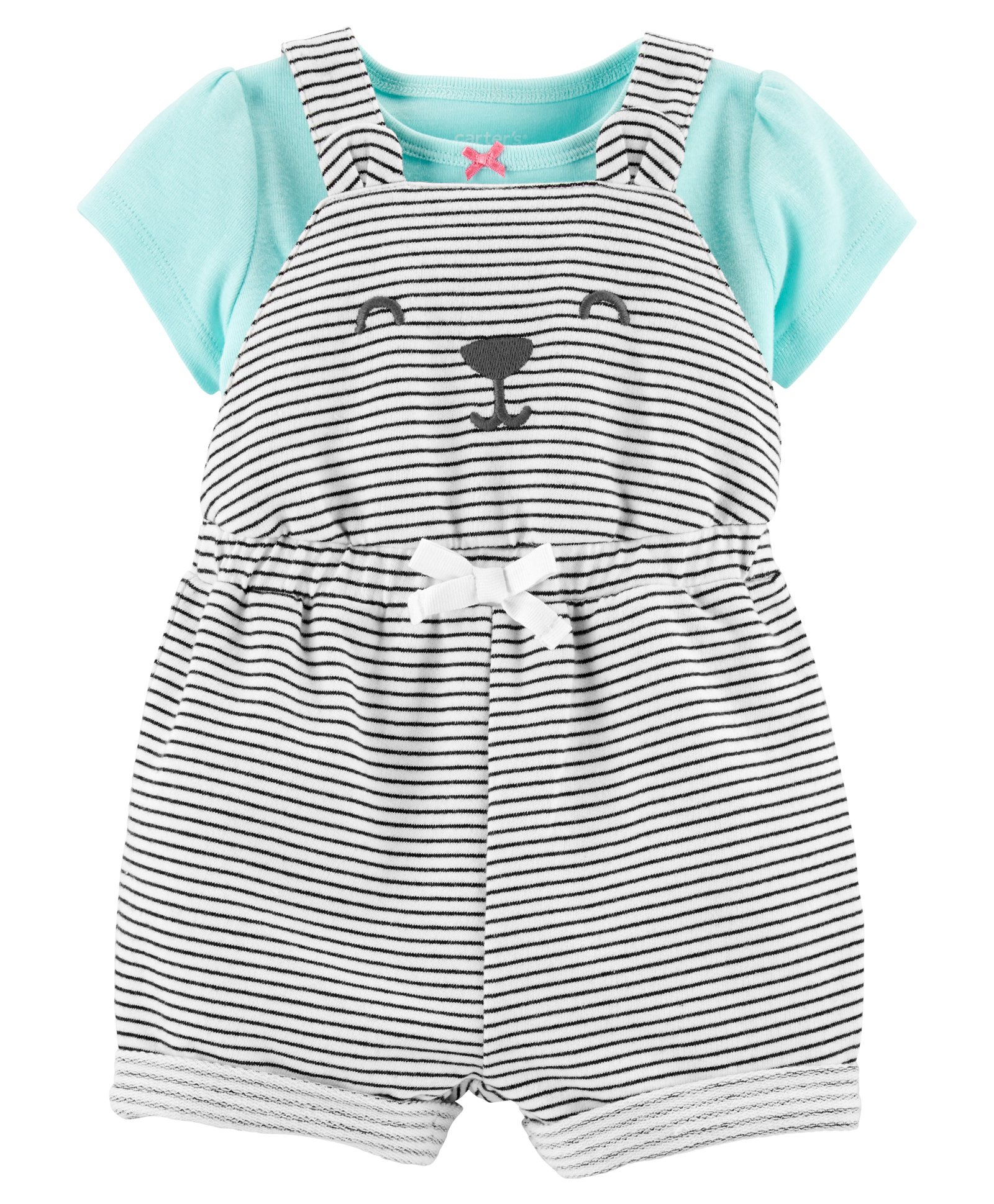 80c2d82ab28e Buy Carters 2Piece Tee   Bear Shortalls Set Sea Green White for Girls ...