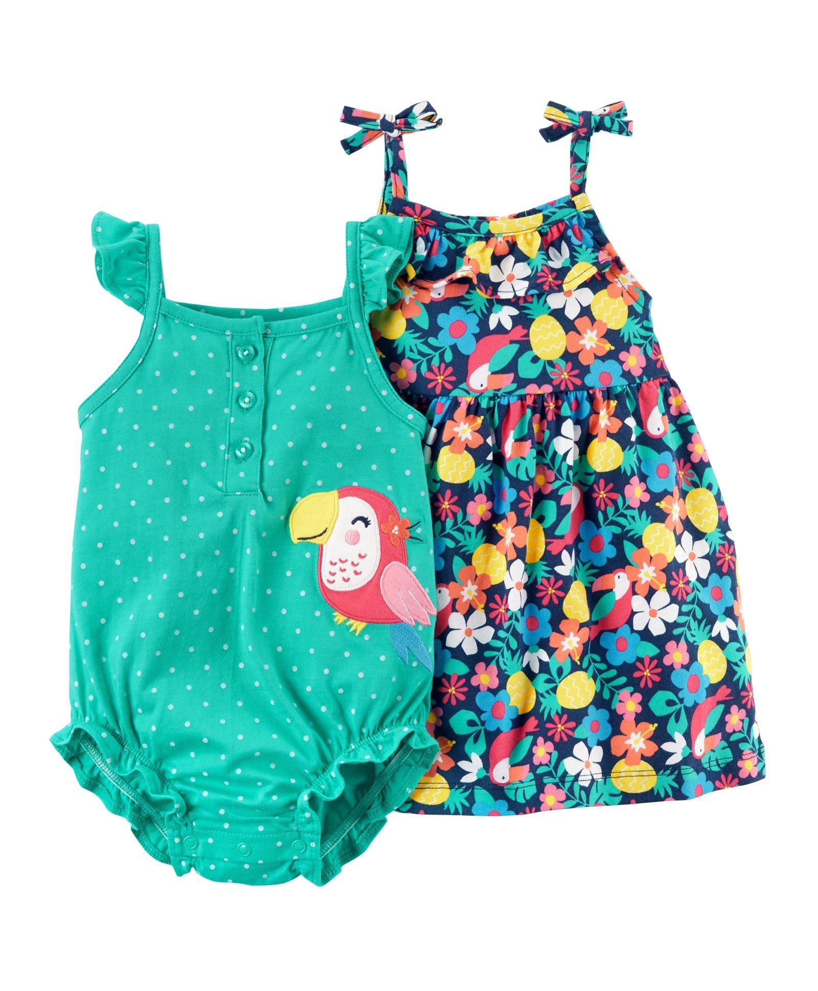 6971d4d51c8 Carter s 2-Piece Floral Dress   Toucan Romper Set - Green   Blue. 12 to 18  Months ...